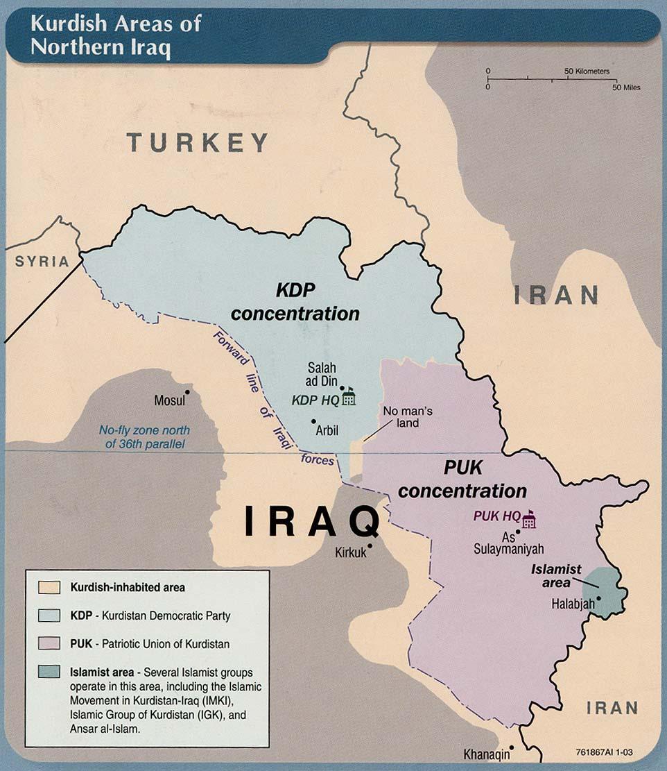Regiones Kurdas en el norte de Irak 2003