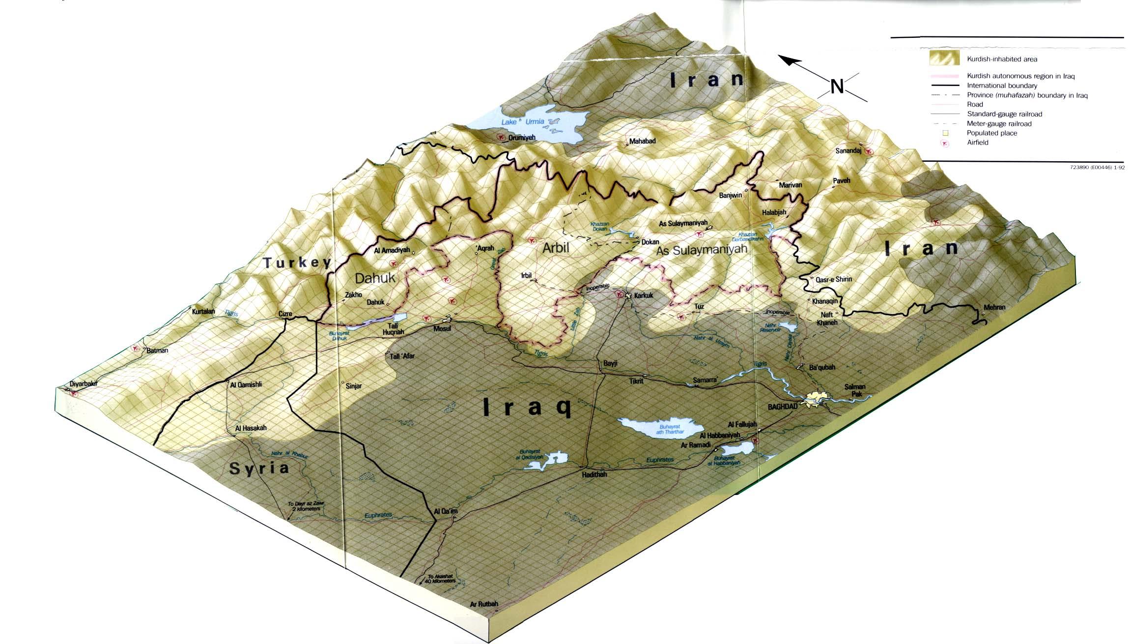 Características físicas de las regiones Kurdas de Irak 1992