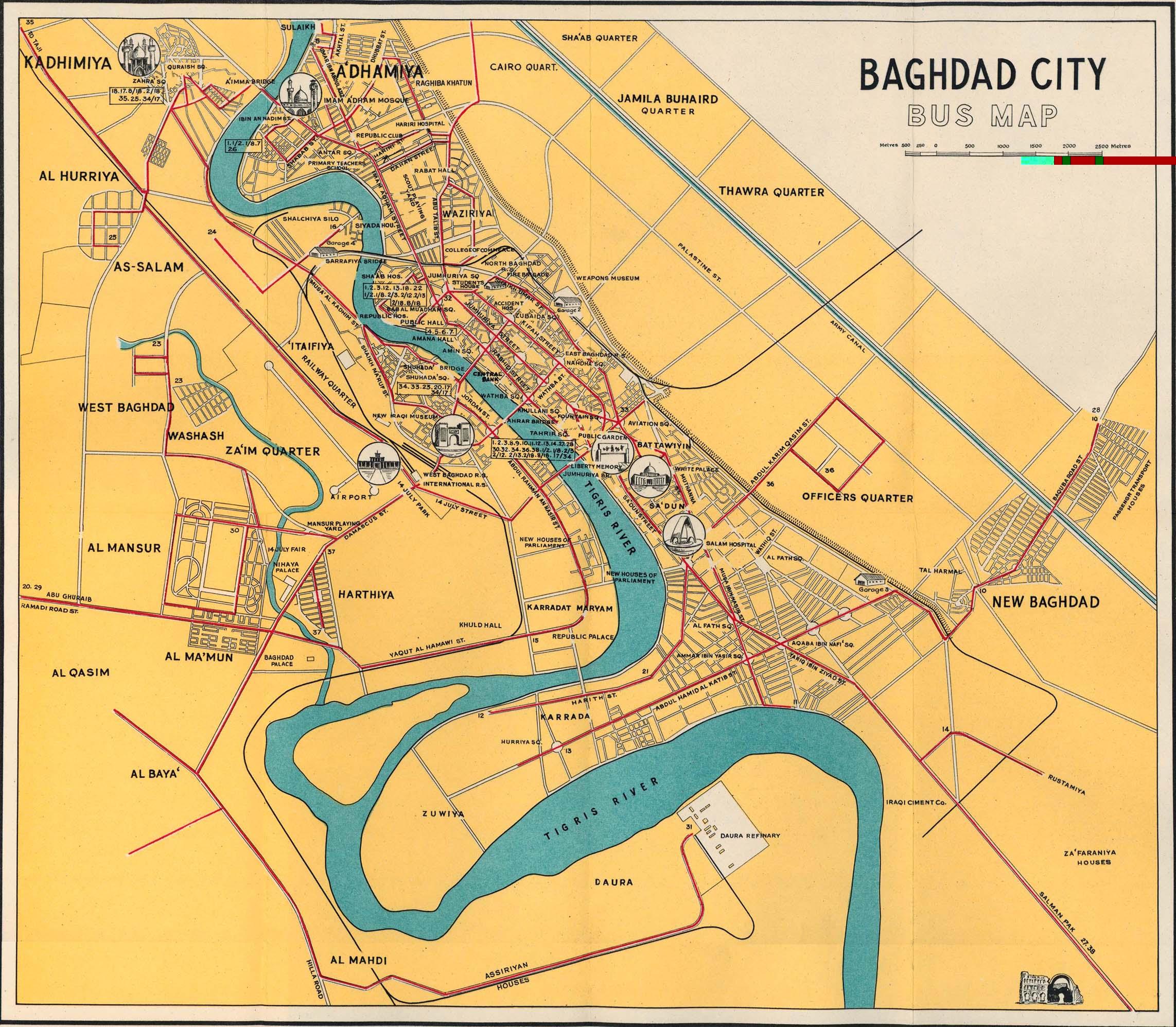 Mapa de autobuses de Bagdad 1961