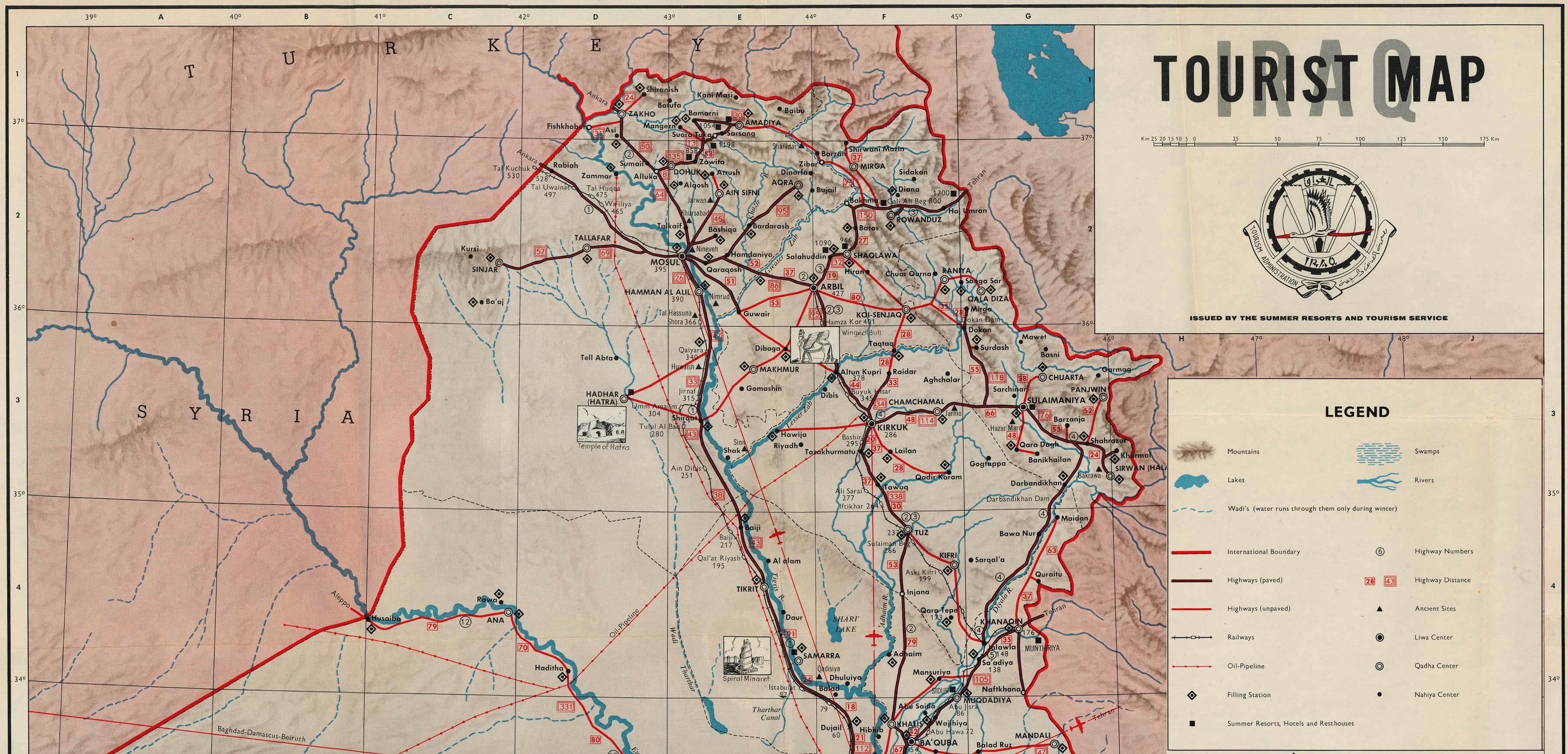 Mapa Turístico del norte de Irak 1970