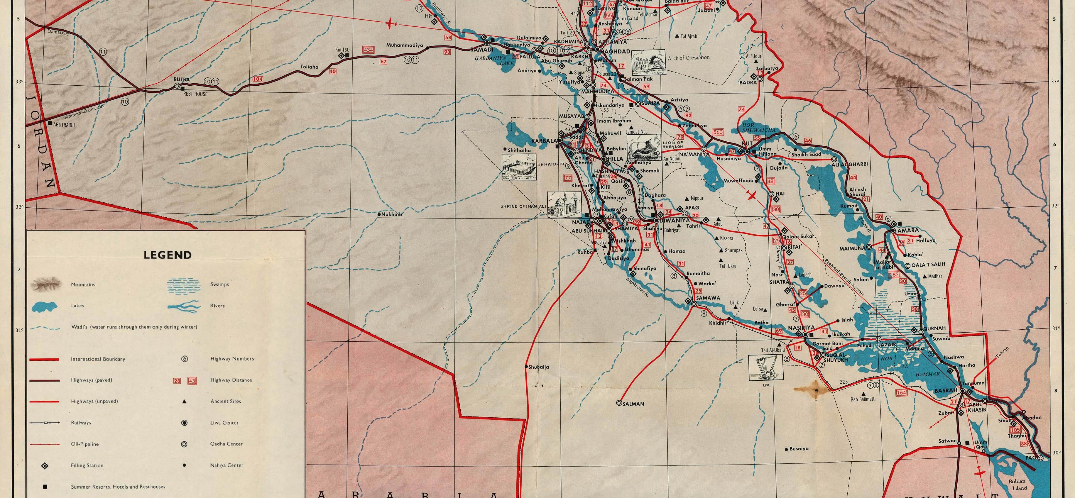 Mapa Turístico del sur de Irak 1970