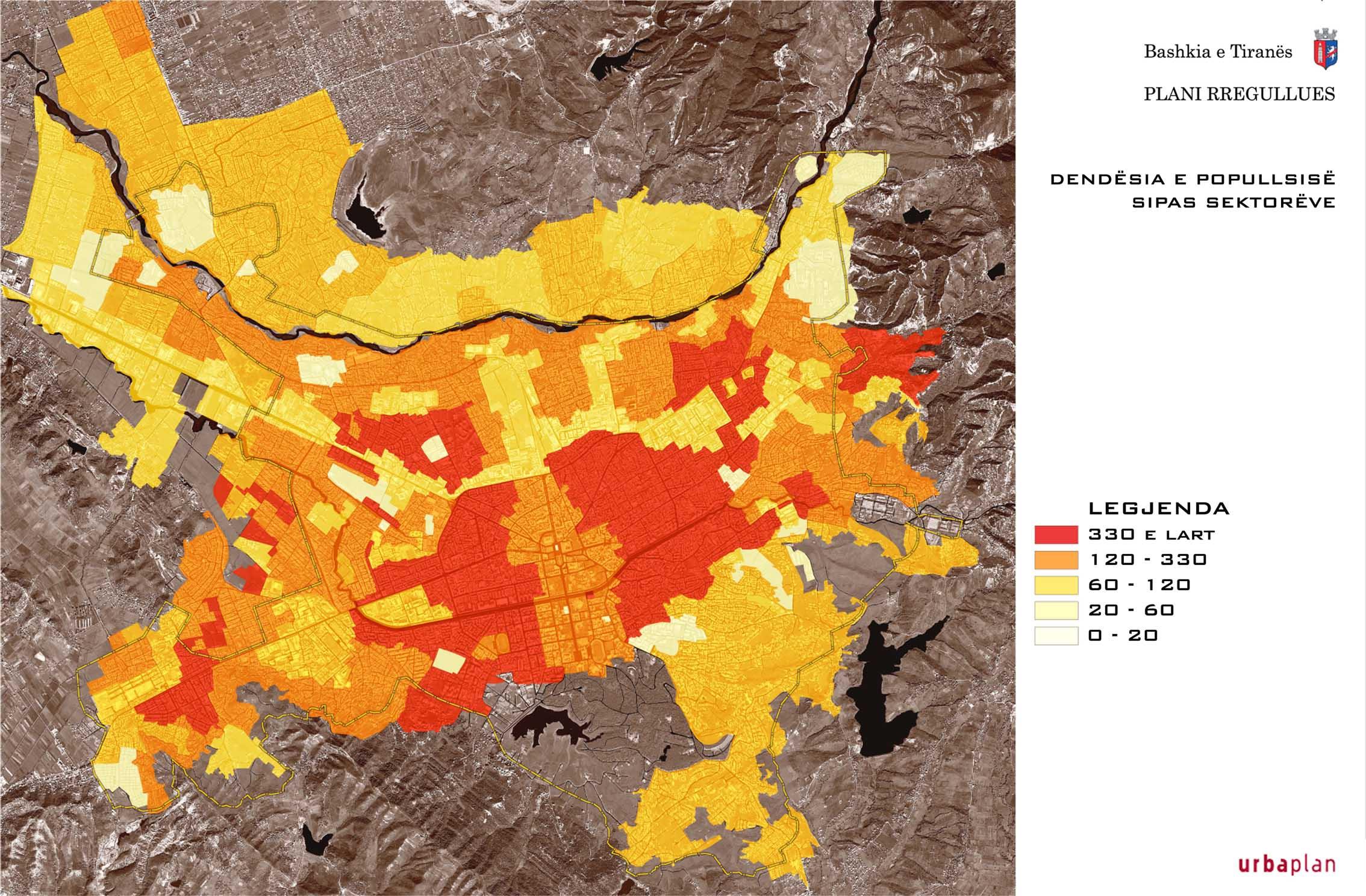 Densidad de población de Tirana