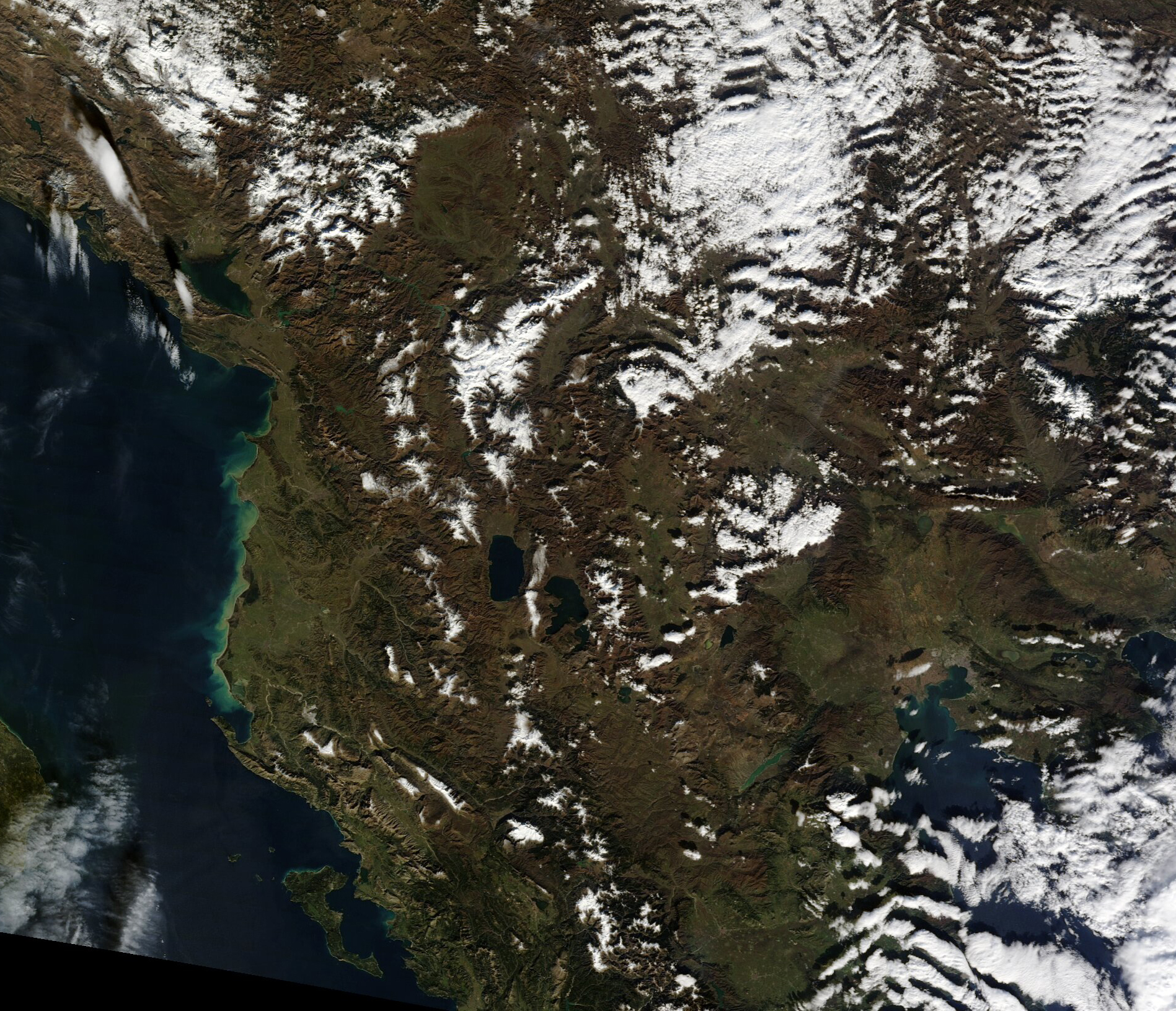 Satellite view of Albania 2011