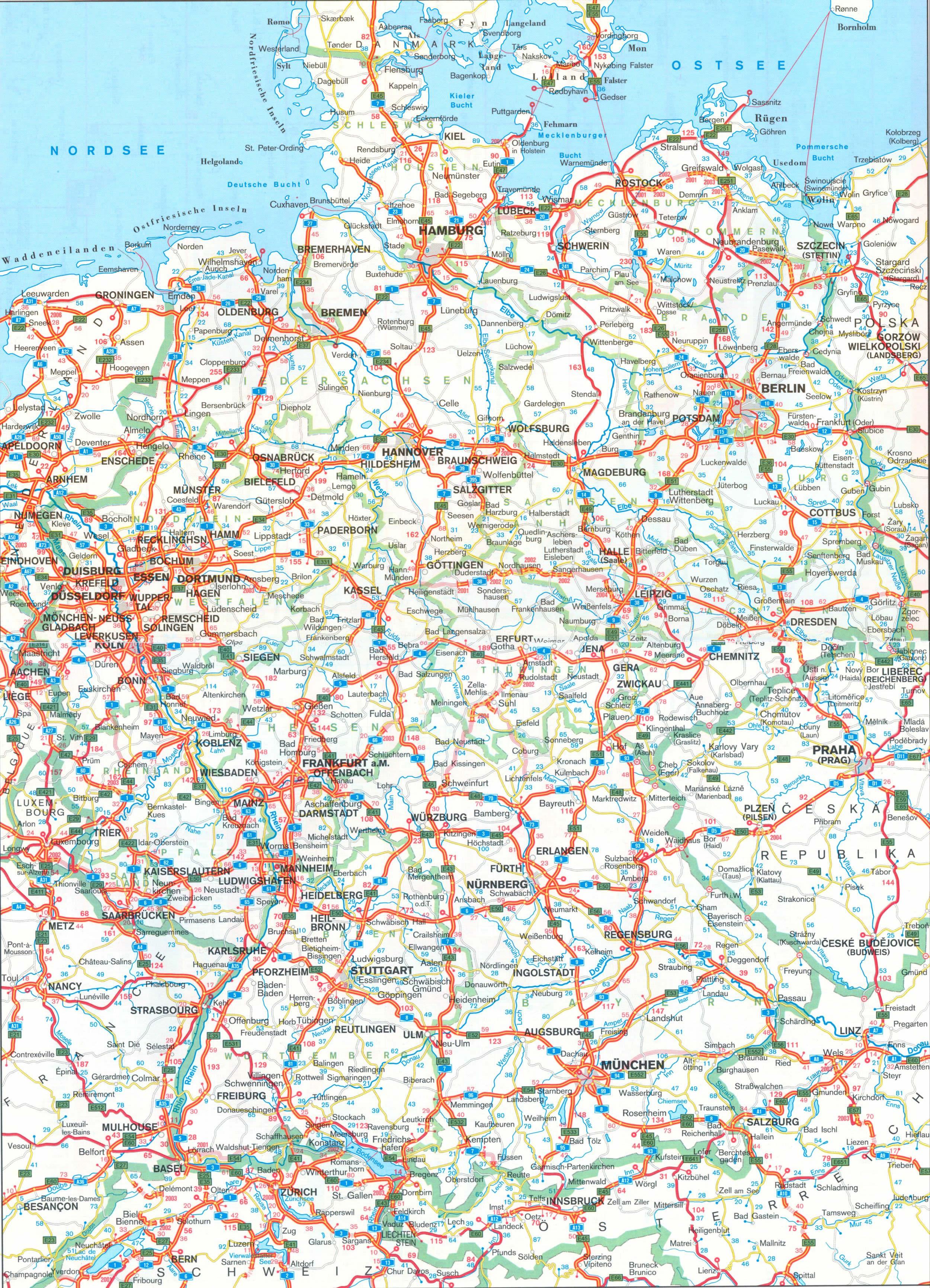Mapa de carreteras de Alemania