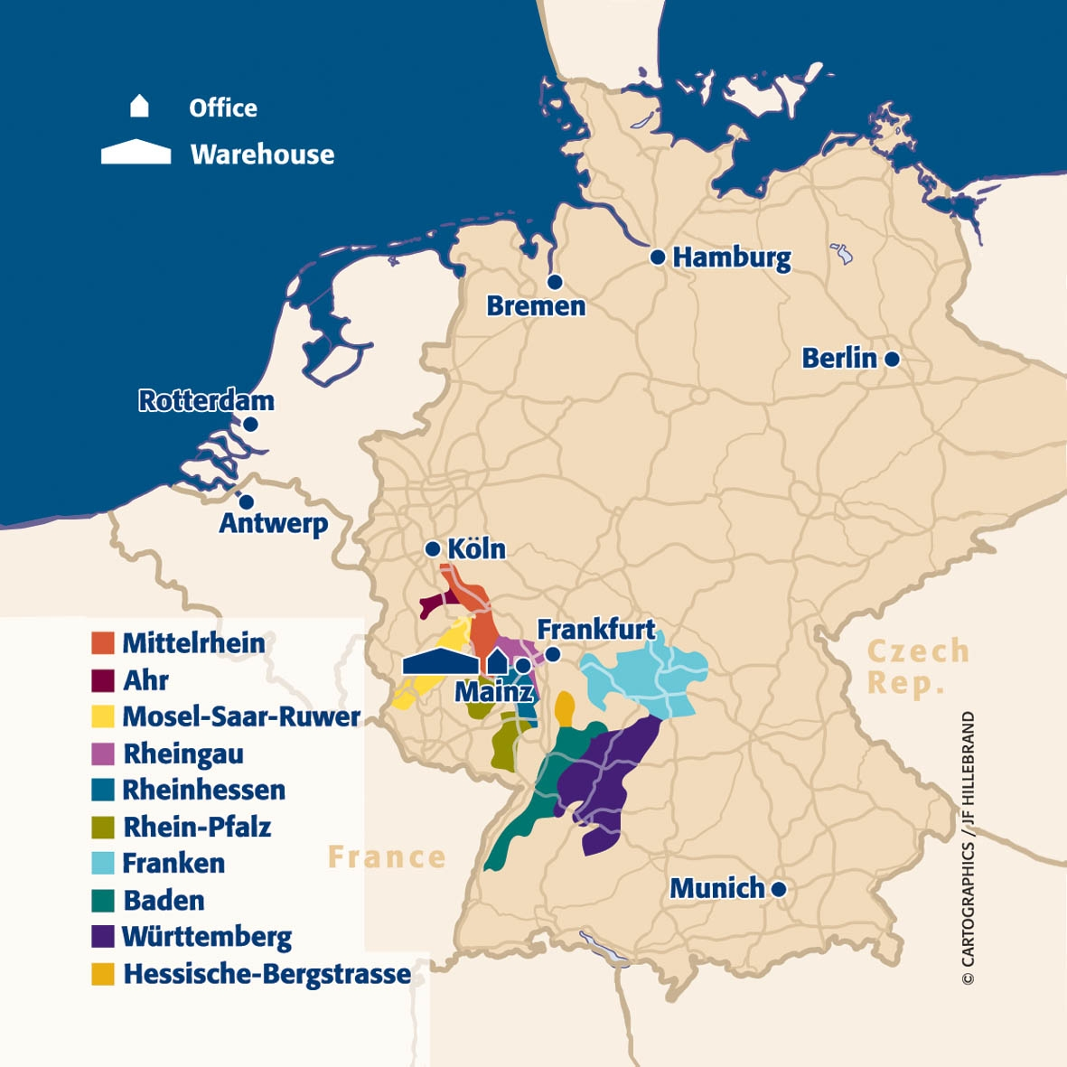 Main wine areas of Germany