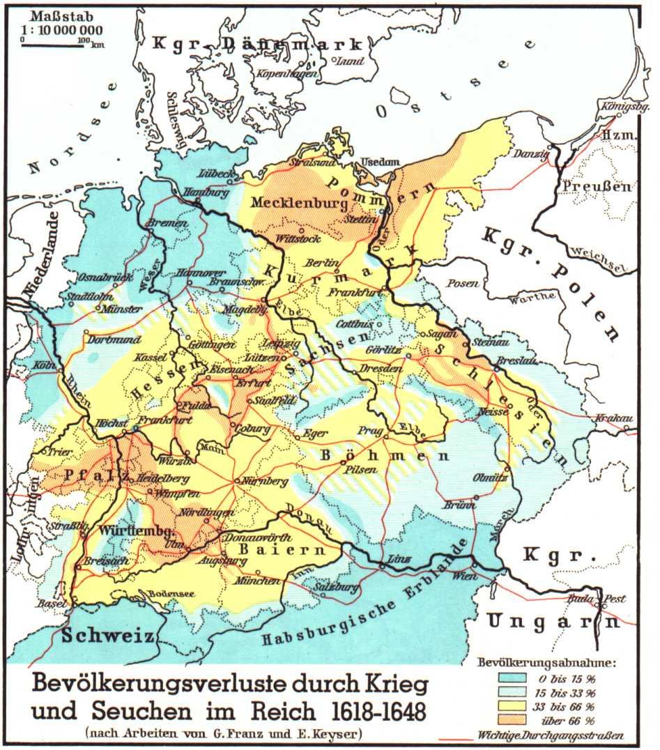 Perdida de población por la guerra y las enfermedades en el Imperio 1618-1648