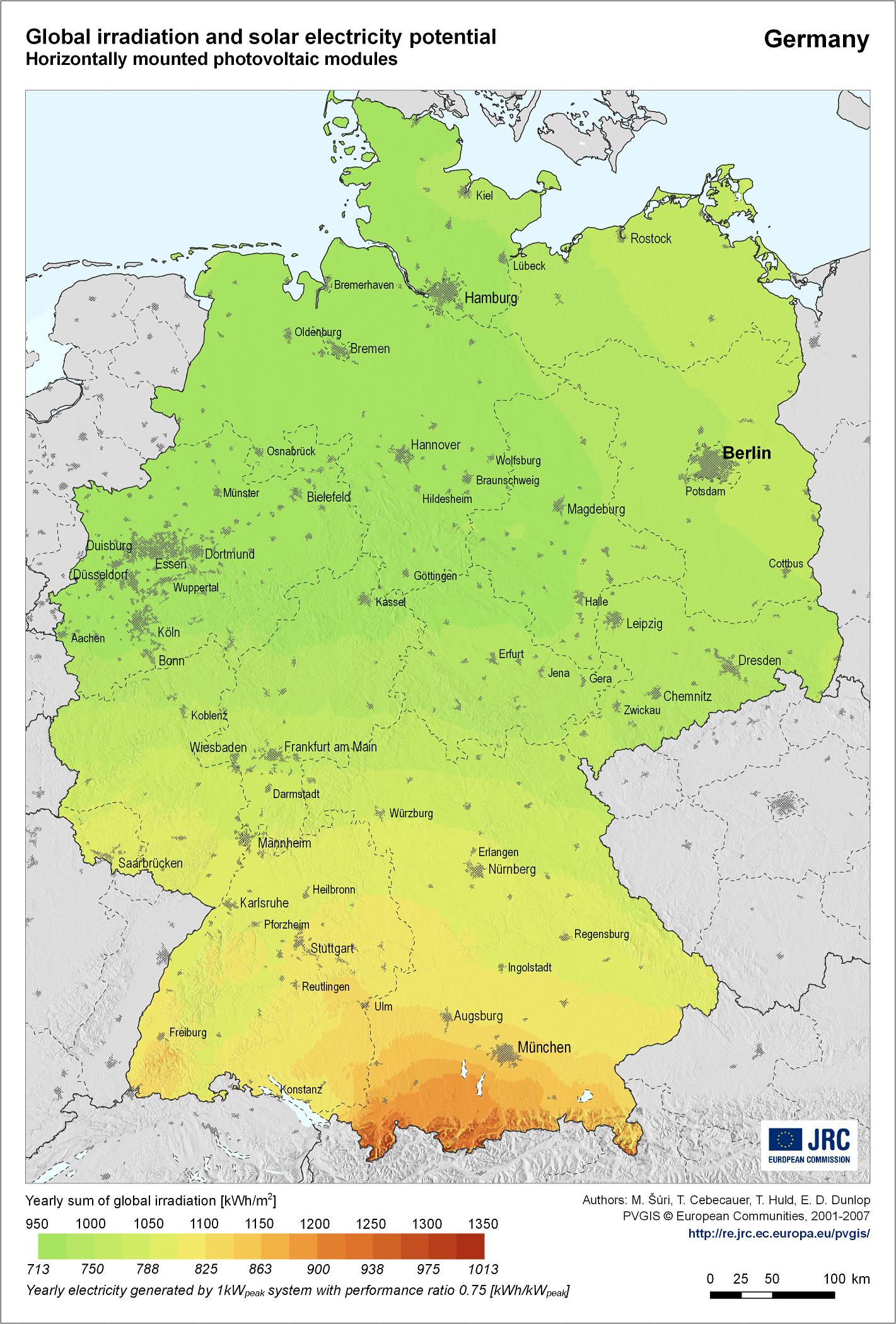 Radiación global y potencial de energía solar en Alemania