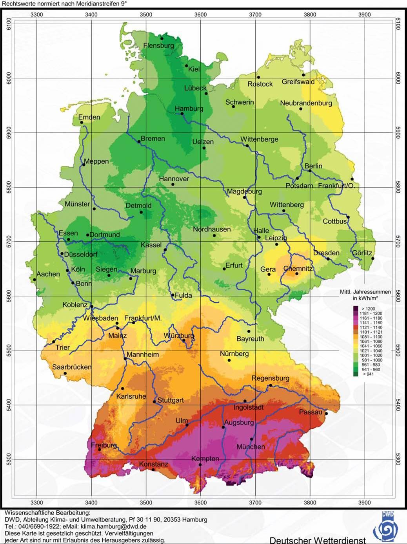 Radiación solar en Alemania