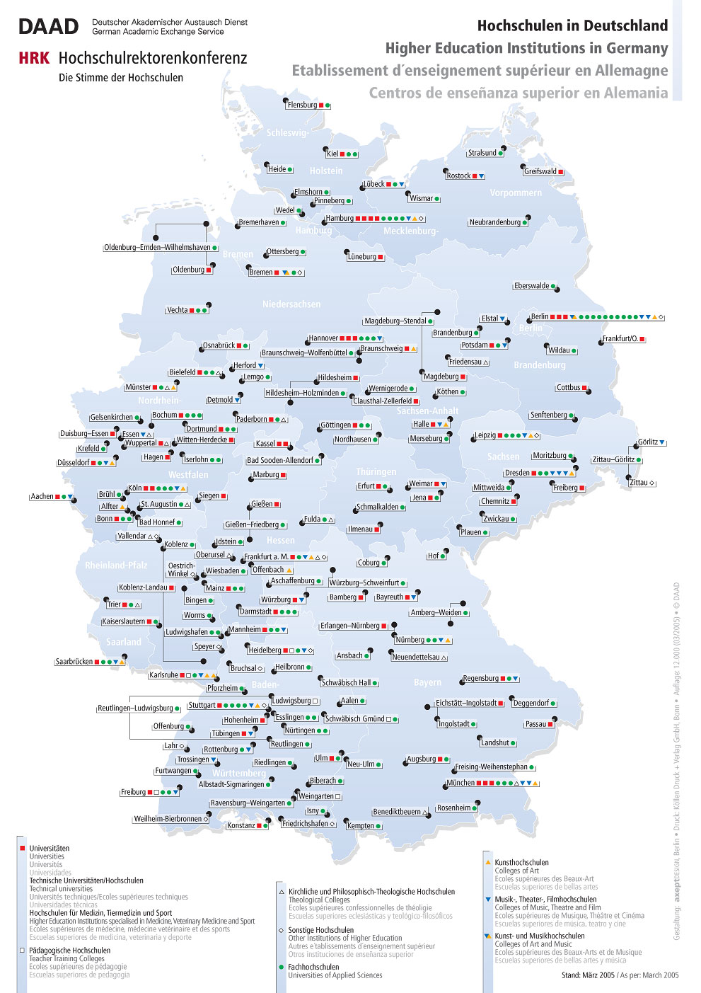 Higher education institutions in Germany 2005