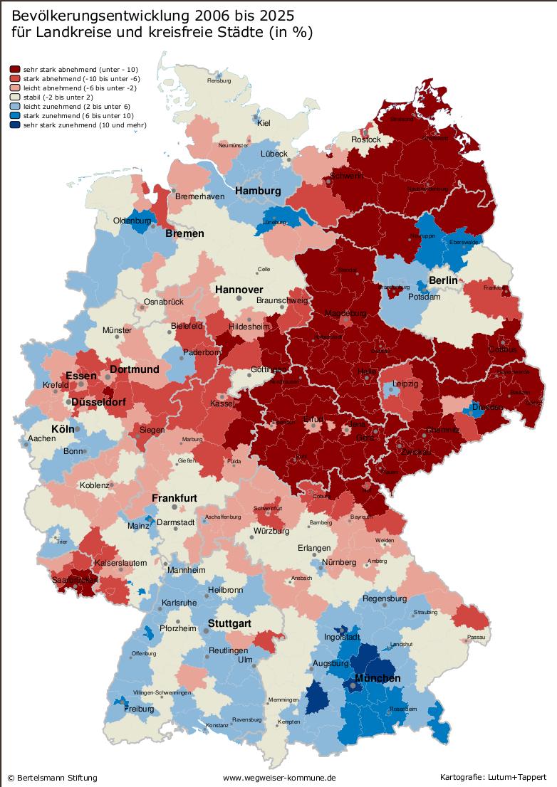 Evolución de la población de Alemania 2006-2025