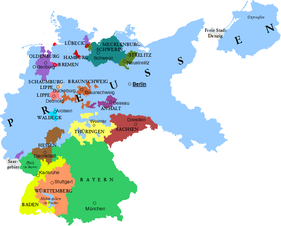 The states of the Weimar Republic and their capitals in 1925