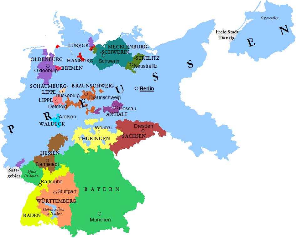 Los estados de la República de Weimar y sus capitales 1925