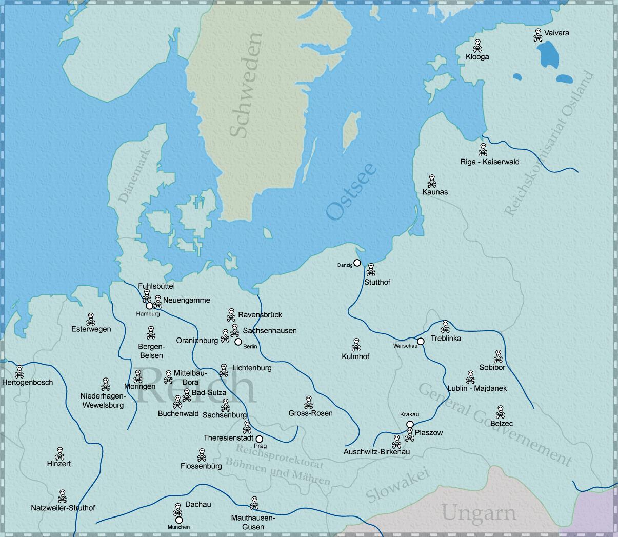 Principales campos de exterminio y de concentración de la Alemania Nazi 1943
