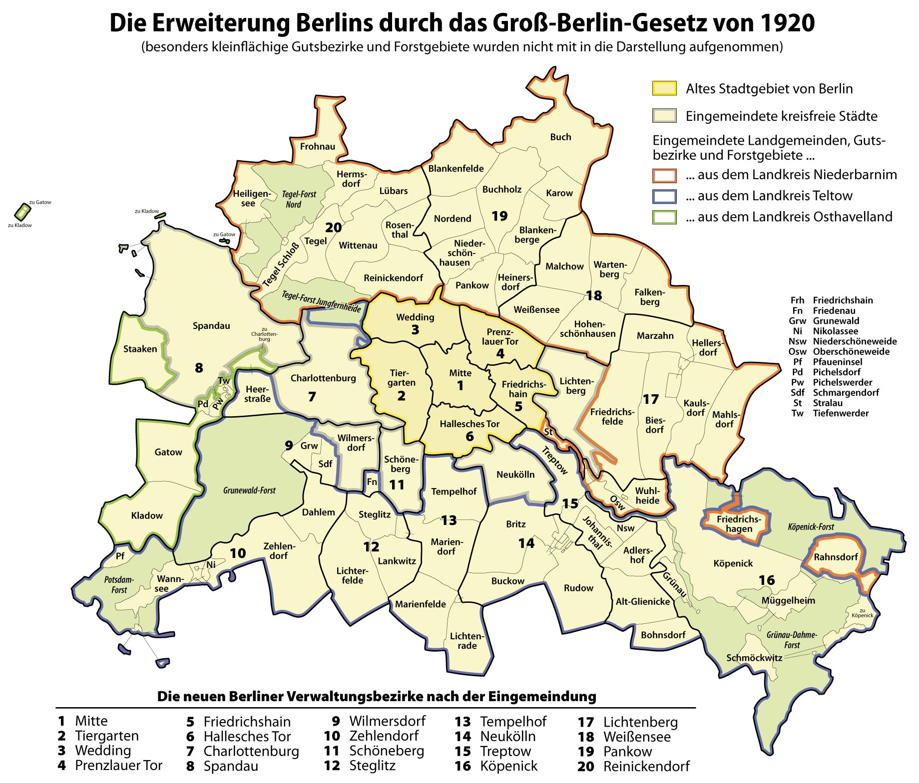Territories merged into Berlin in 1920