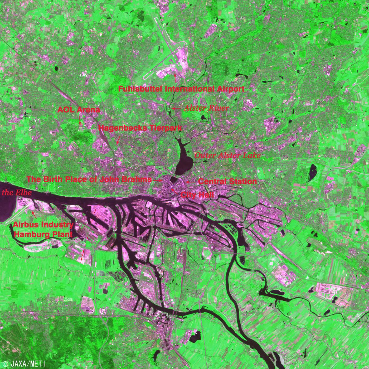 Vista satelital de Hamburgo