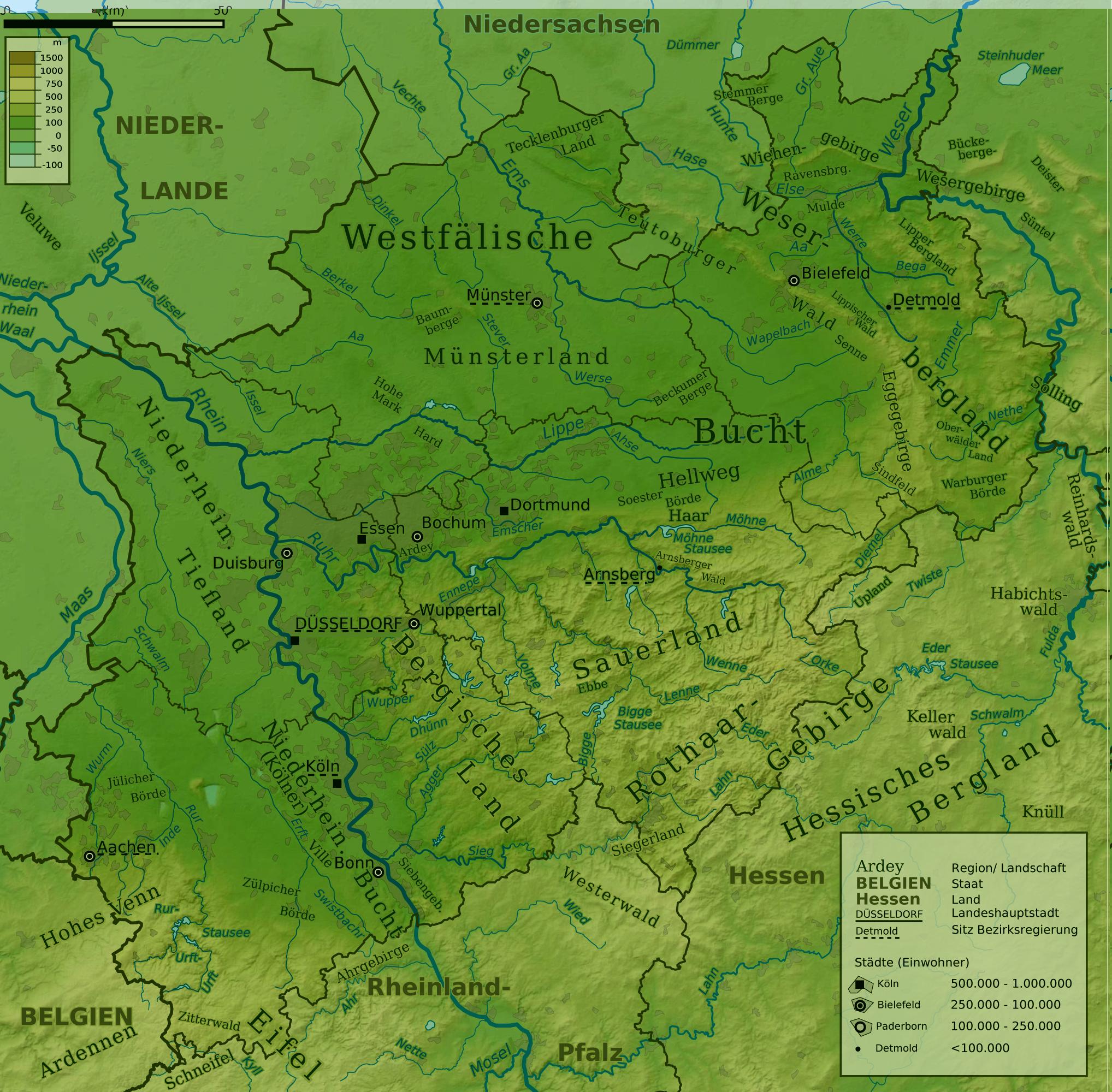 Mapa físico de Renania del Norte-Westfalia 2009