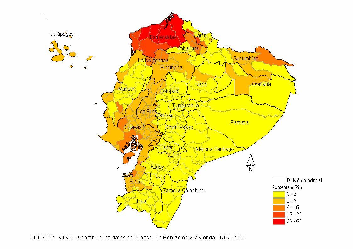 Mapa de Distribución geográfica de la población Afroecuatoriana 2001