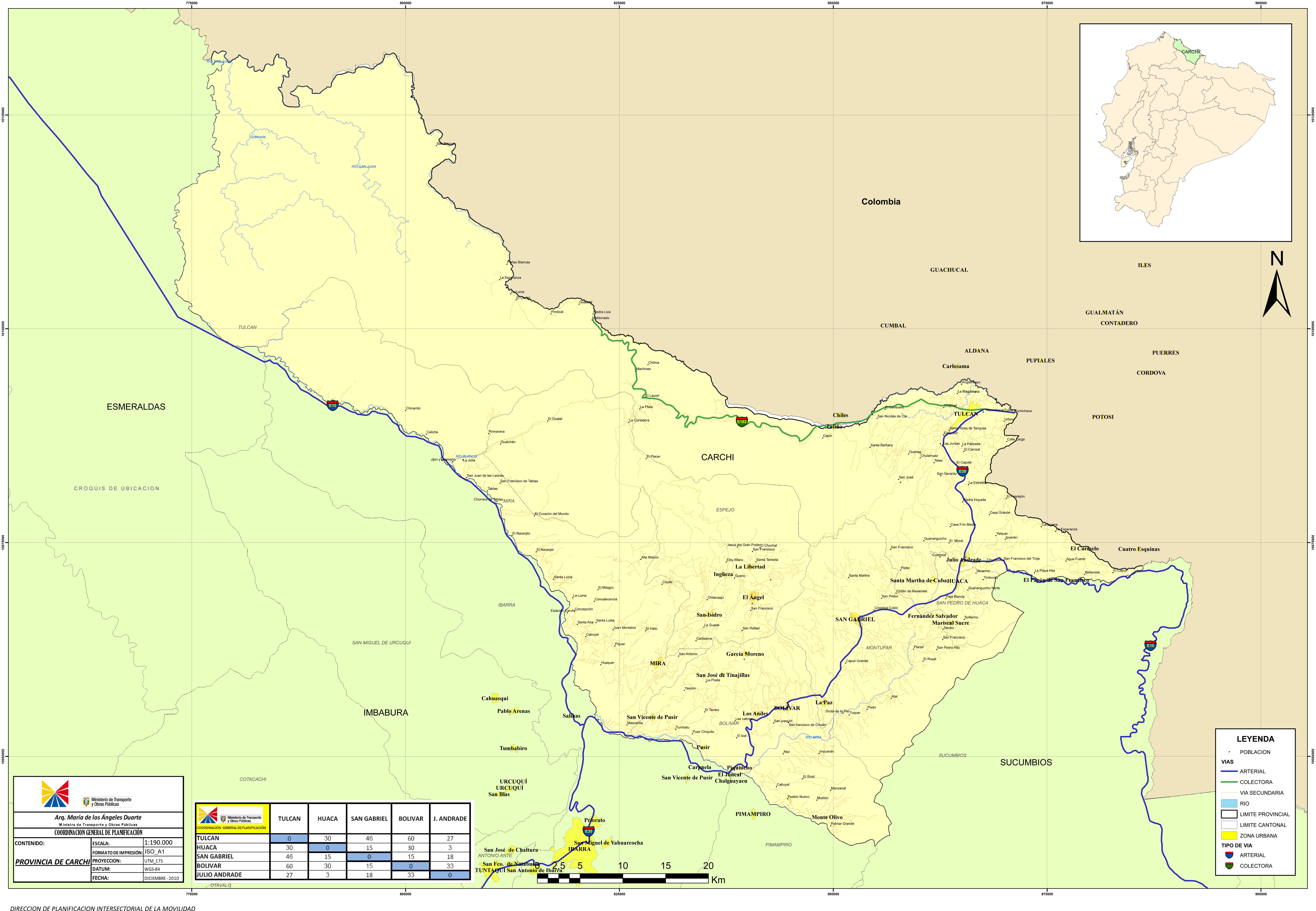 Mapa de Carchi 2010