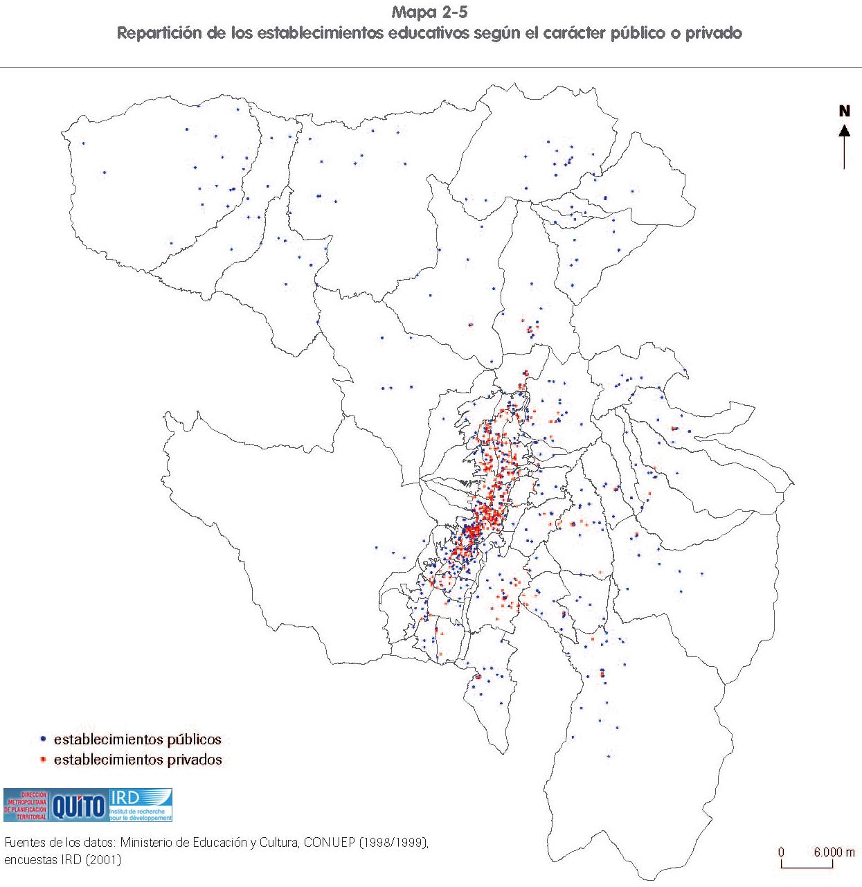 Mapa de Establecimientos educativos público e privado en el Distrito Metropolitano de Quito 2001