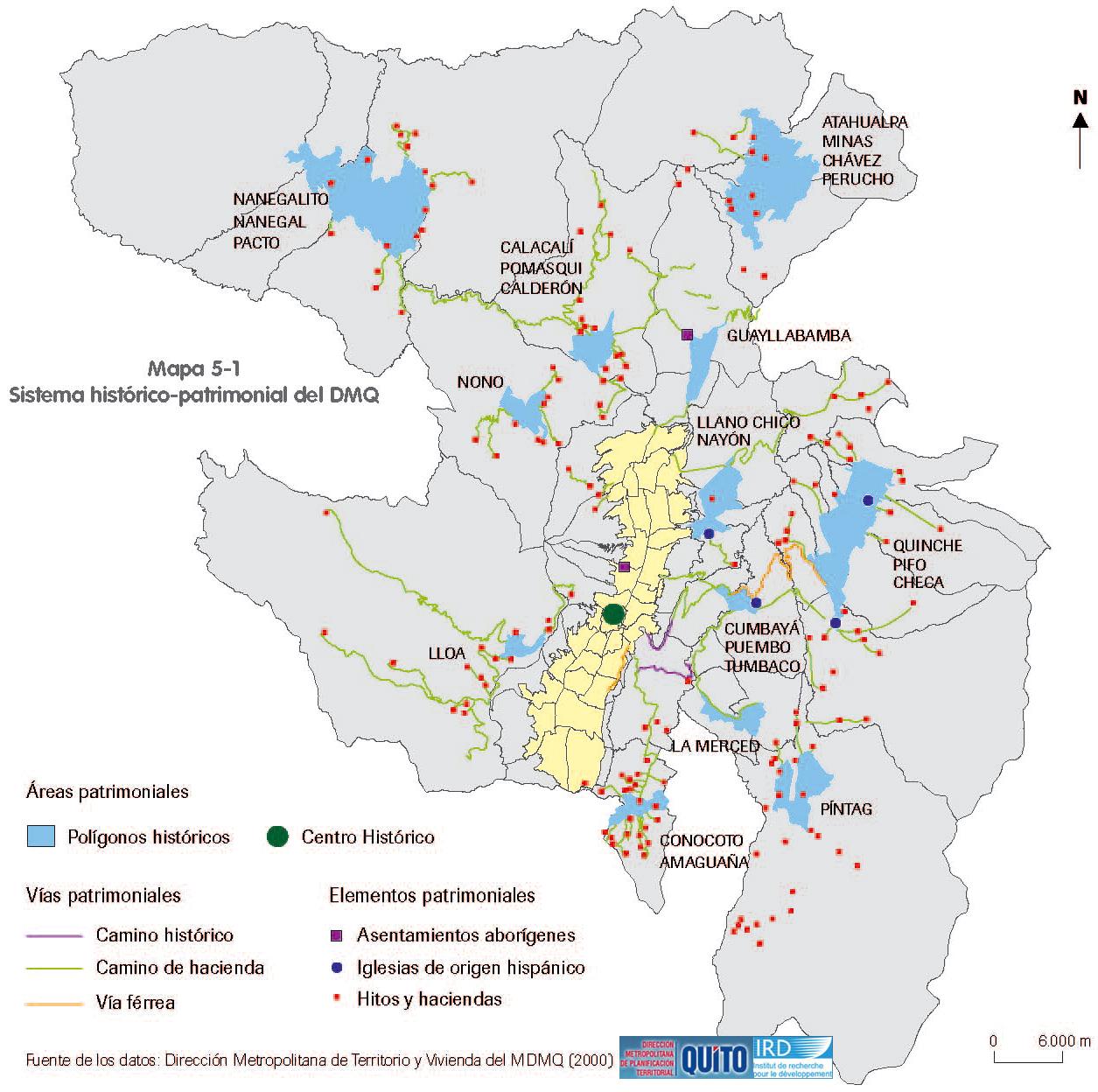 Mapa de Áreas Histórico-patrimoniales en el Distrito Metropolitano de Quito 2000