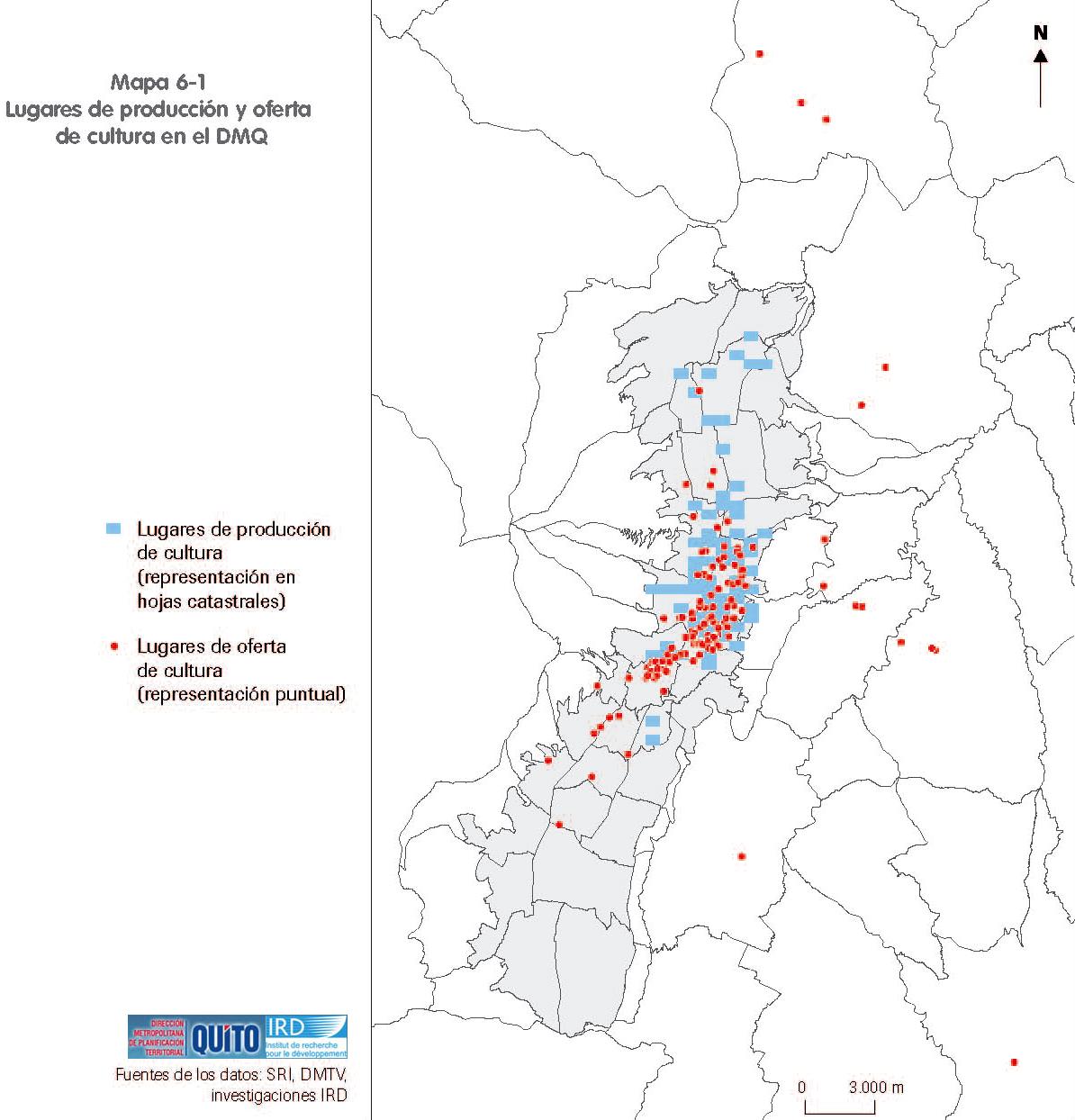 Mapa de Producción y oferta de cultura en el Distrito Metropolitano de Quito 2001