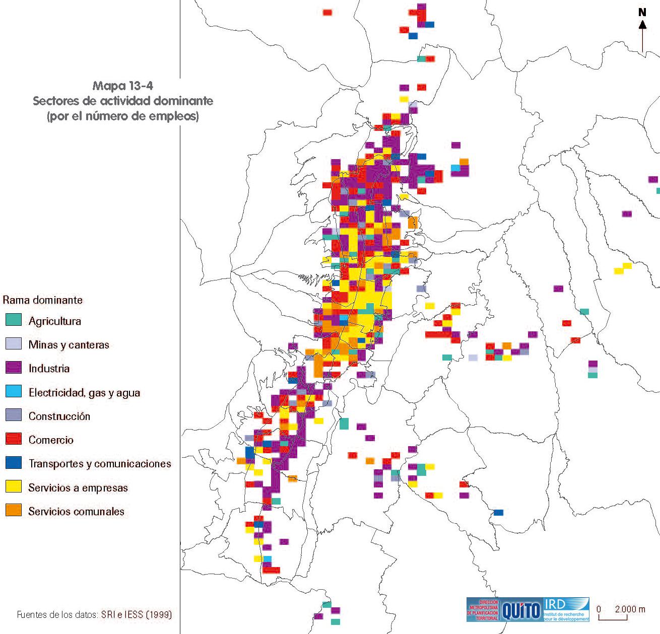 Mapa de Sectores de actividad económica dominante en el Distrito Metropolitano de Quito 1999