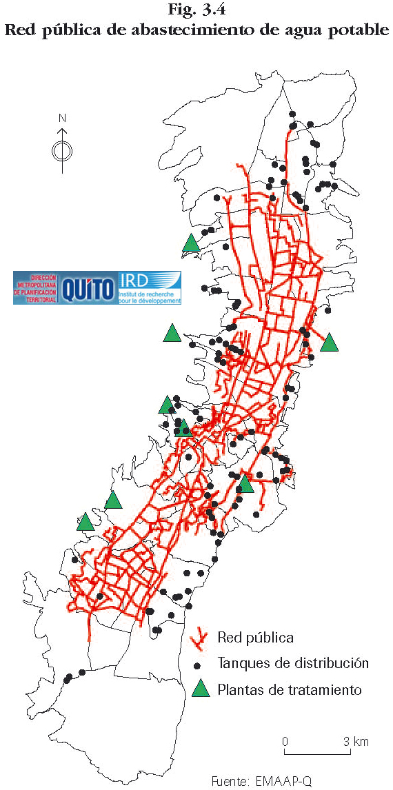 Mapa de Red pública de abastecimiento de agua potable de Quito 1995