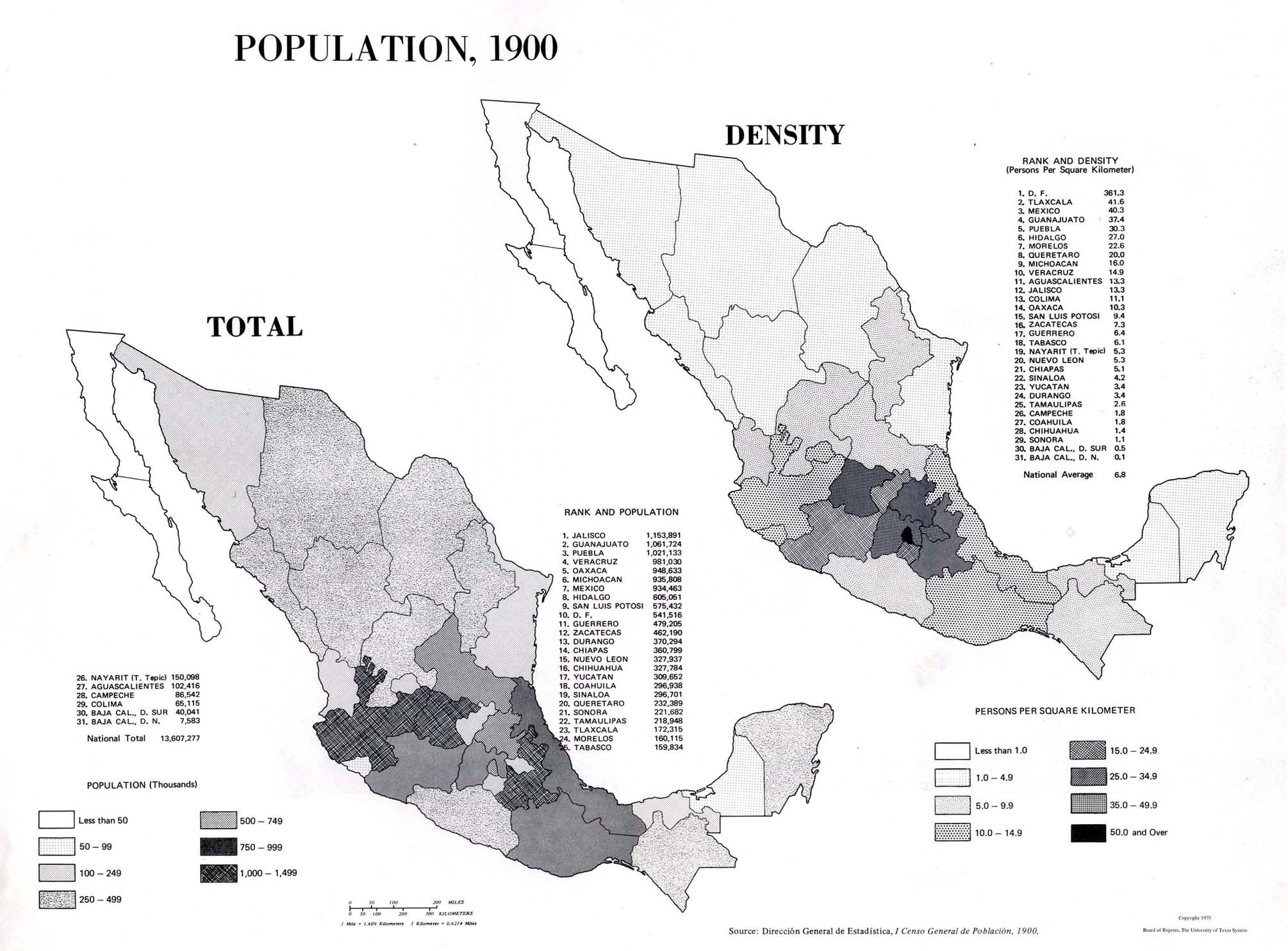 Mapa de Población de Mexico 1900
