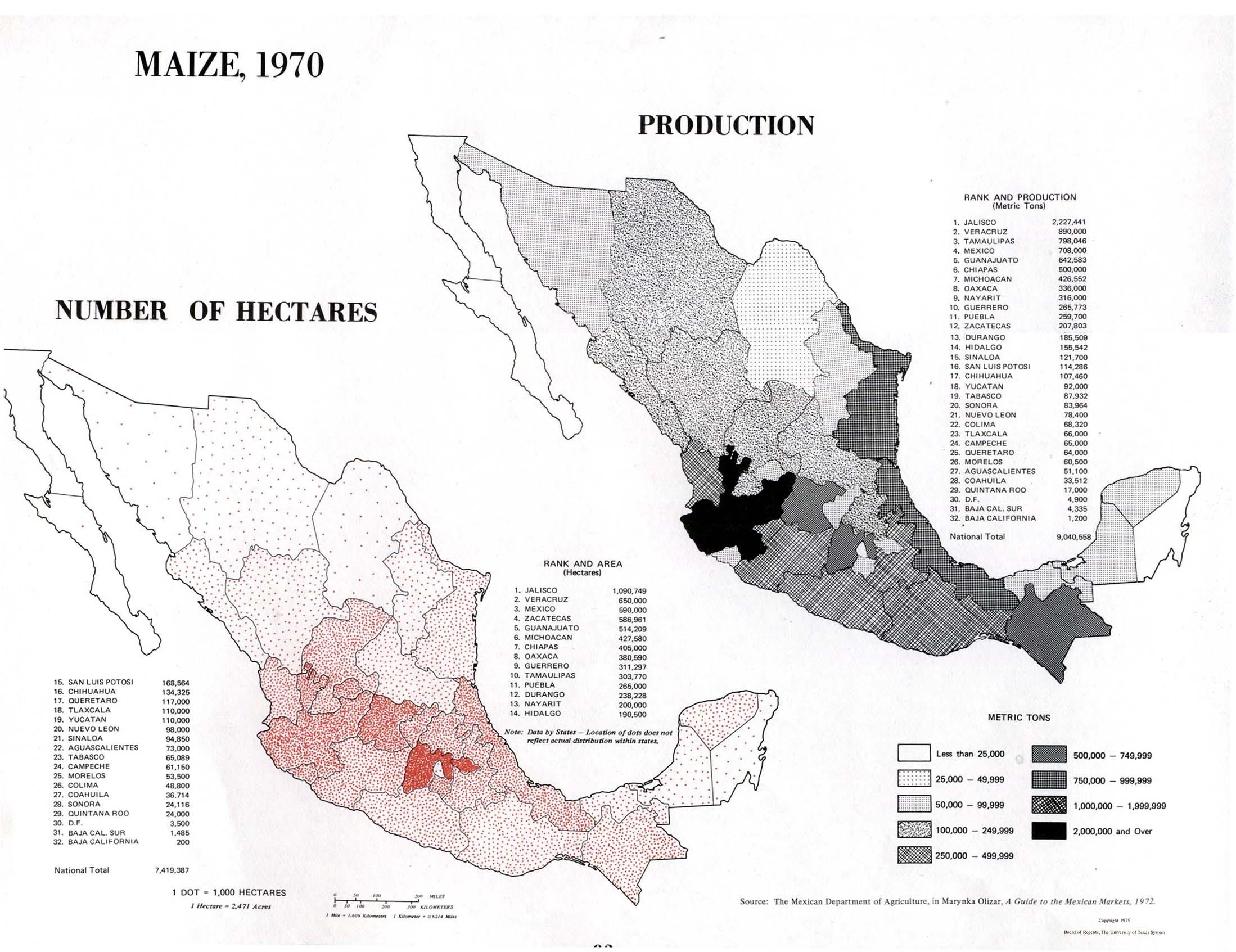 Mapa de Producción de Maíz en México 1970