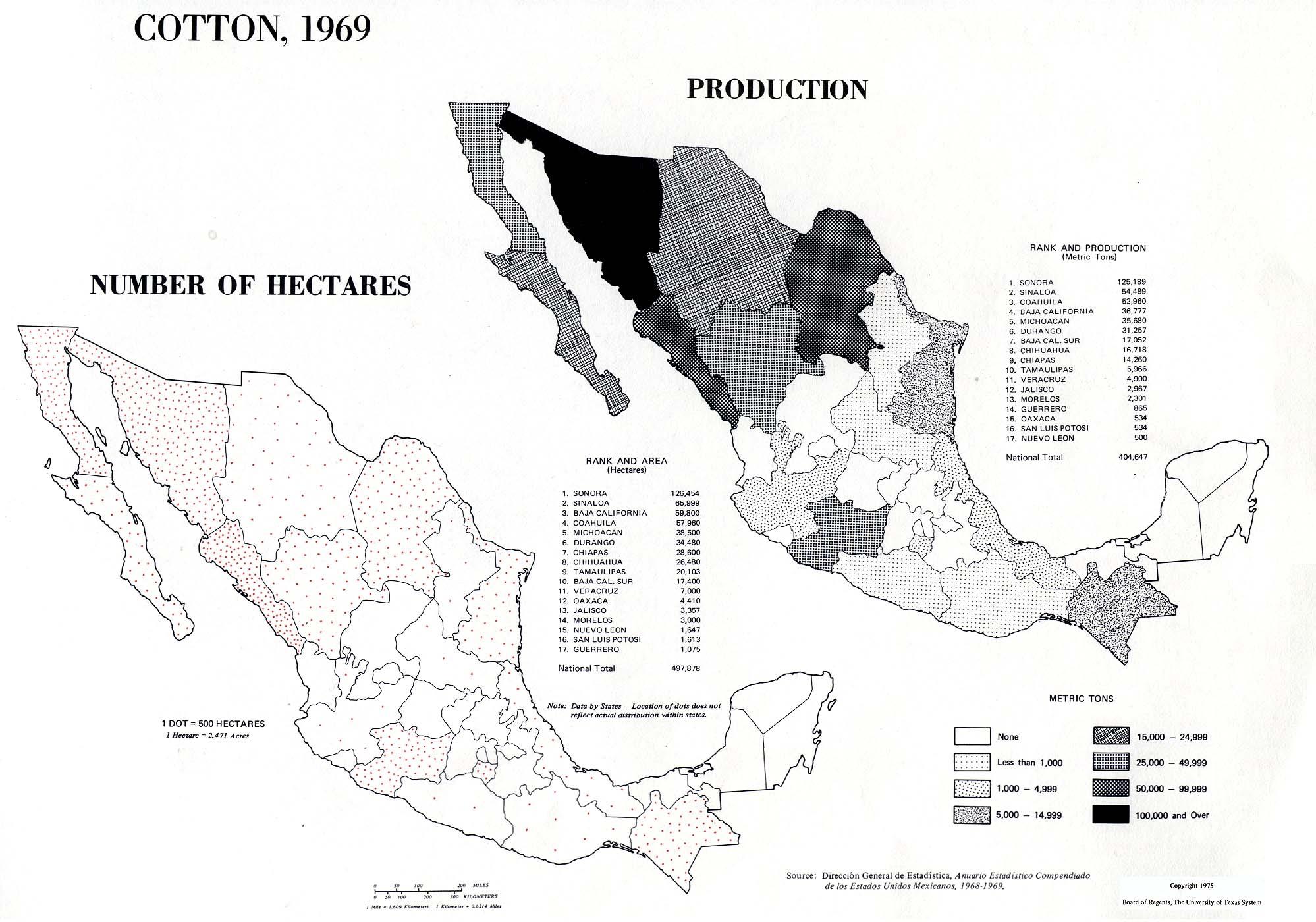 Mapa de Producción de Algodón en México 1969