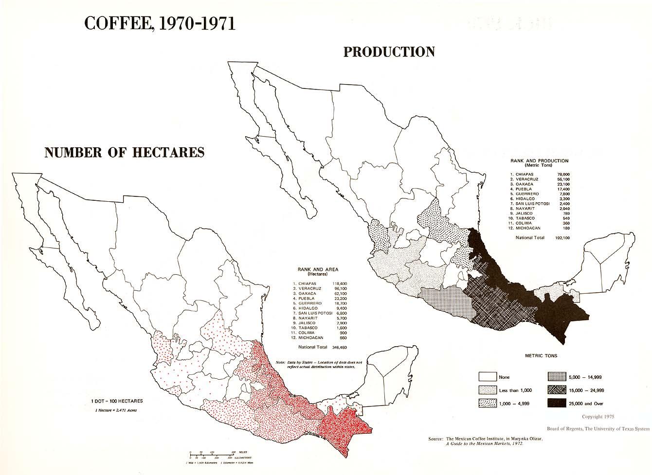 Mapa de Producción de Café en México 1970 - 1971