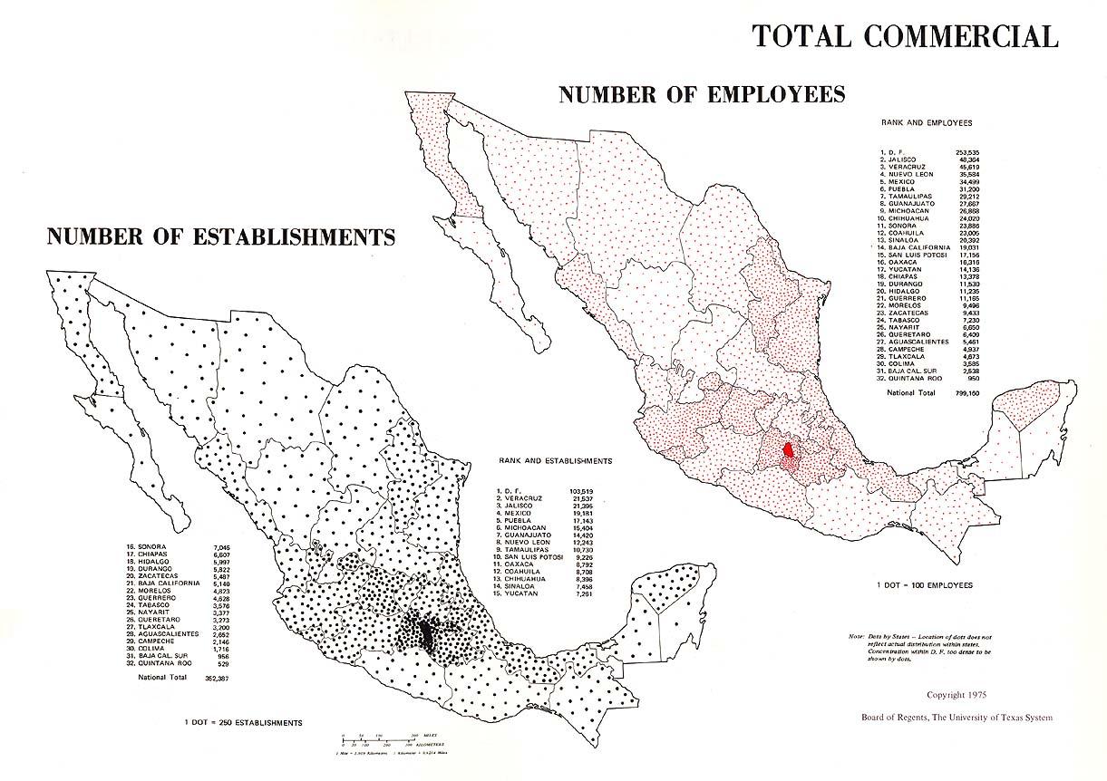 Mapa de Las Actividades Comerciales en México 1965