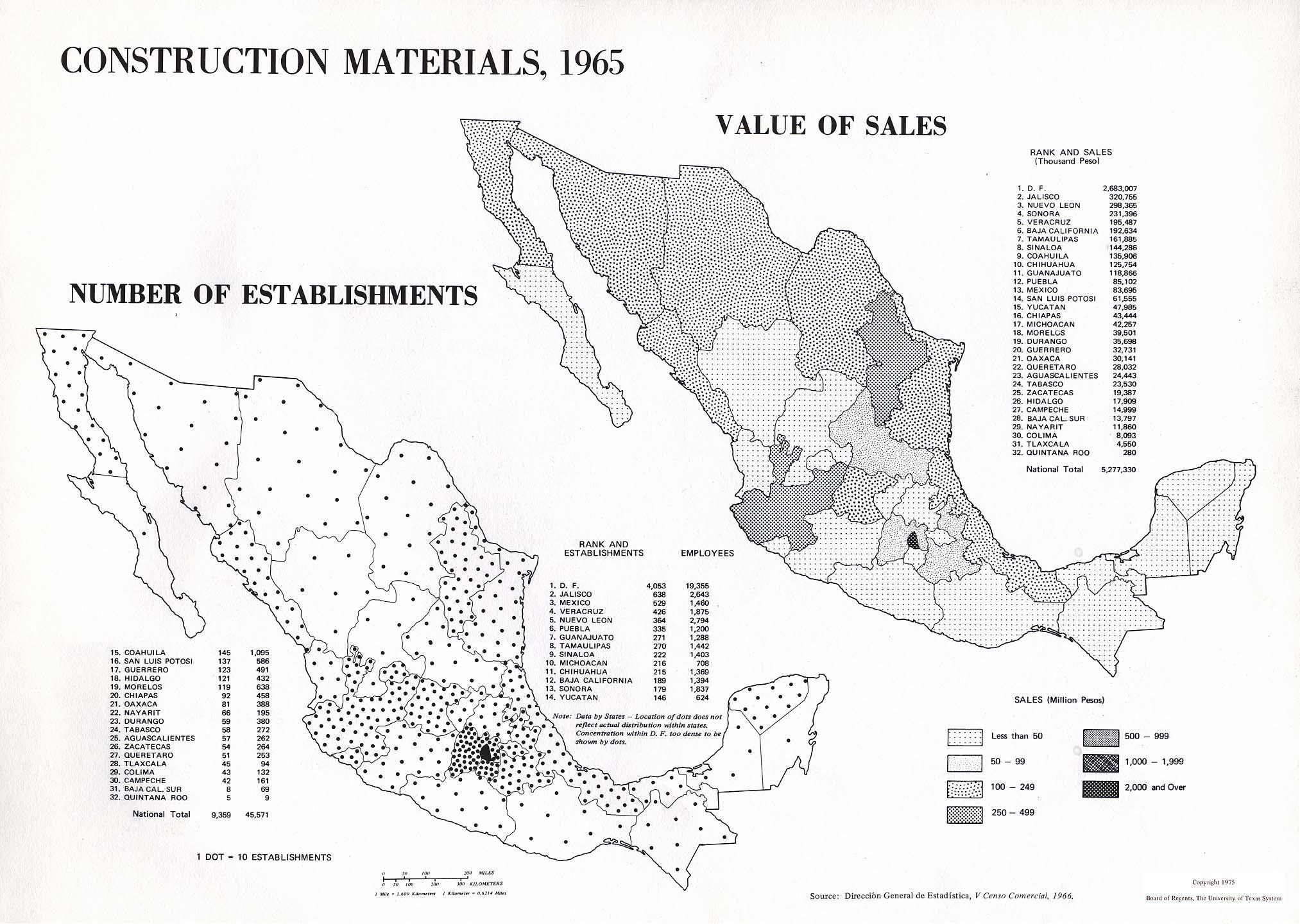 Mapa de Materiales de Construcción en México 1965