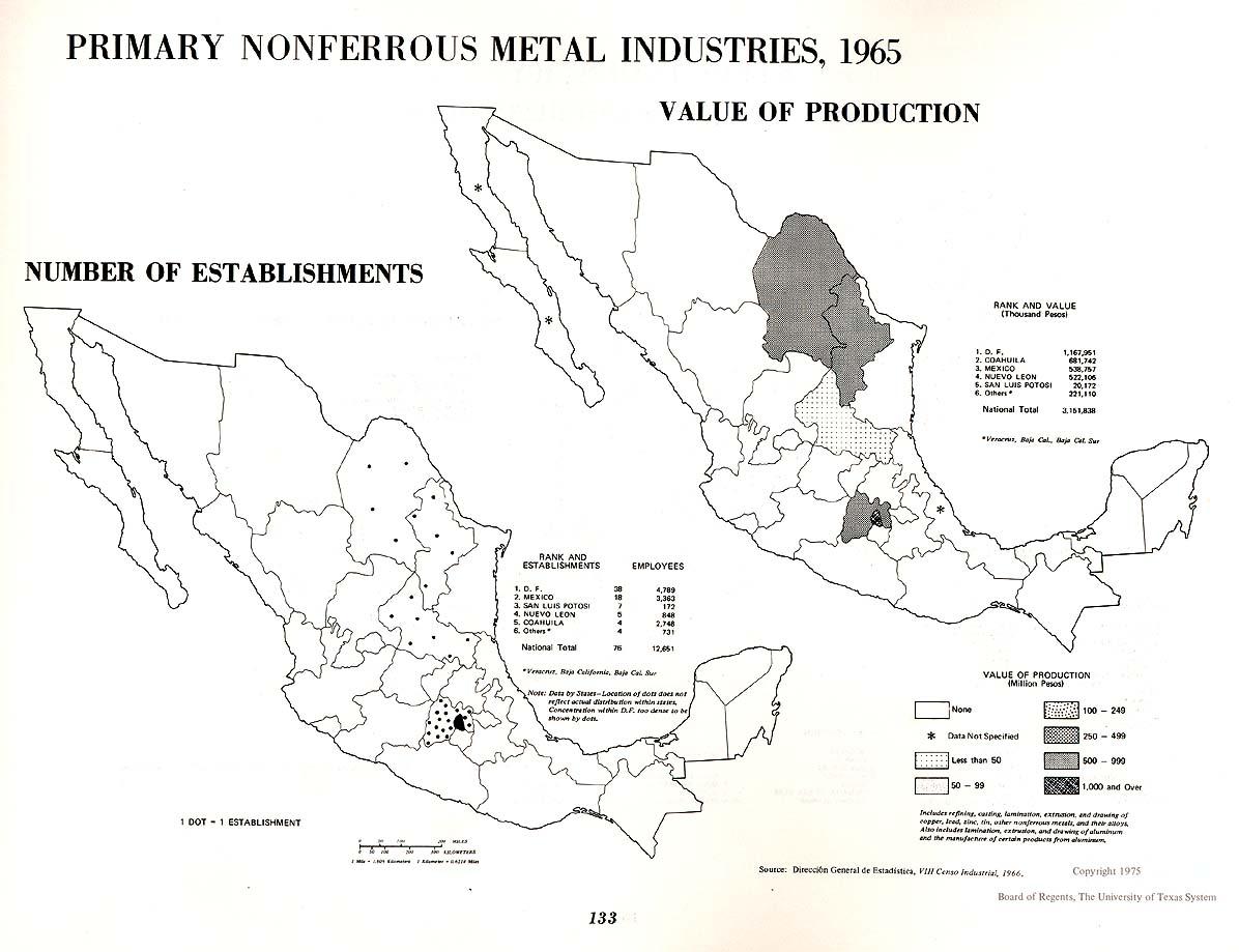 Mapa de Industrias Primarias de los Metales no Ferrosos en México 1965