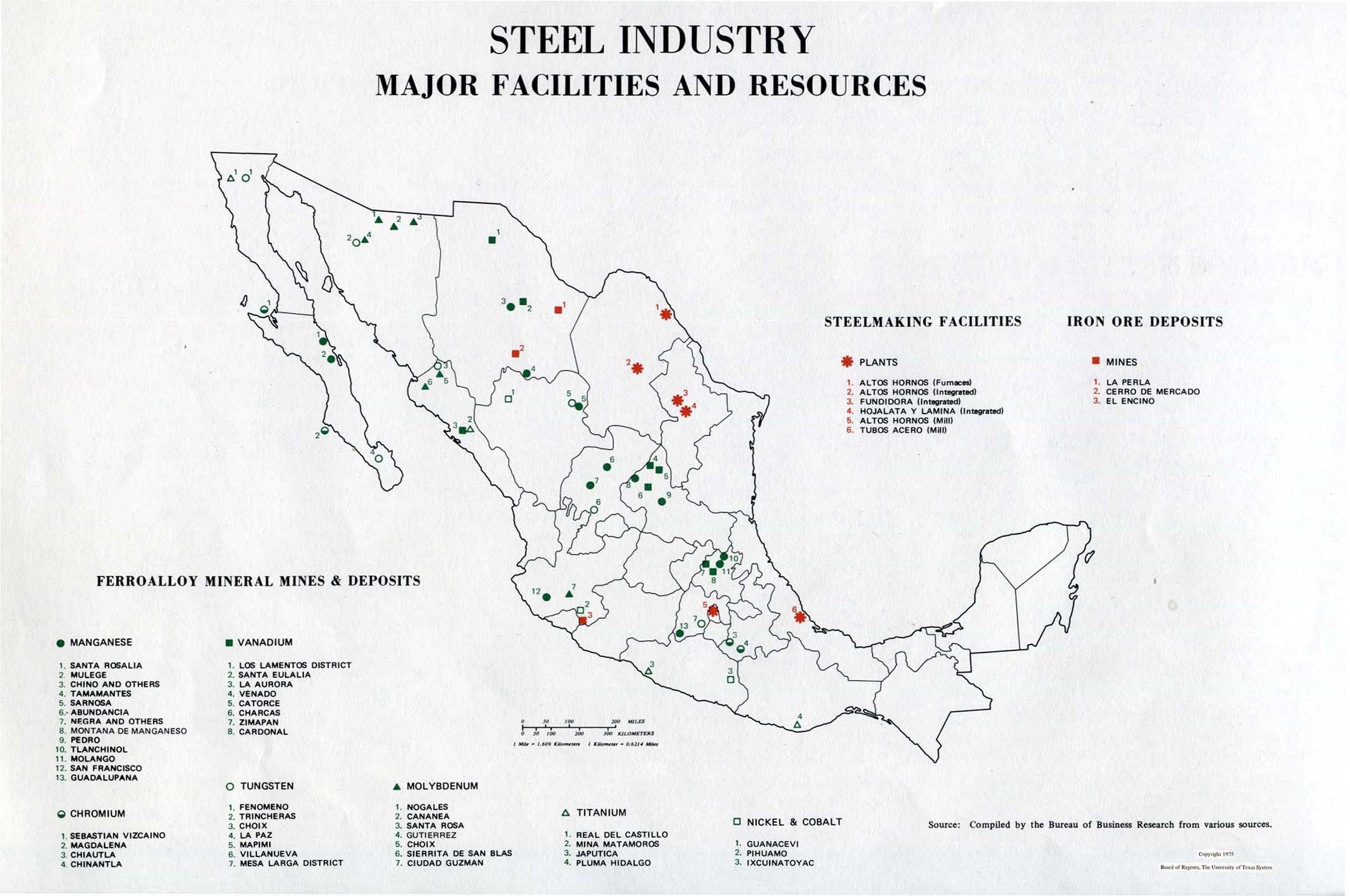 Mapa de Las Principales Instalaciones y Recursos de la Industria del Acero en México 1975