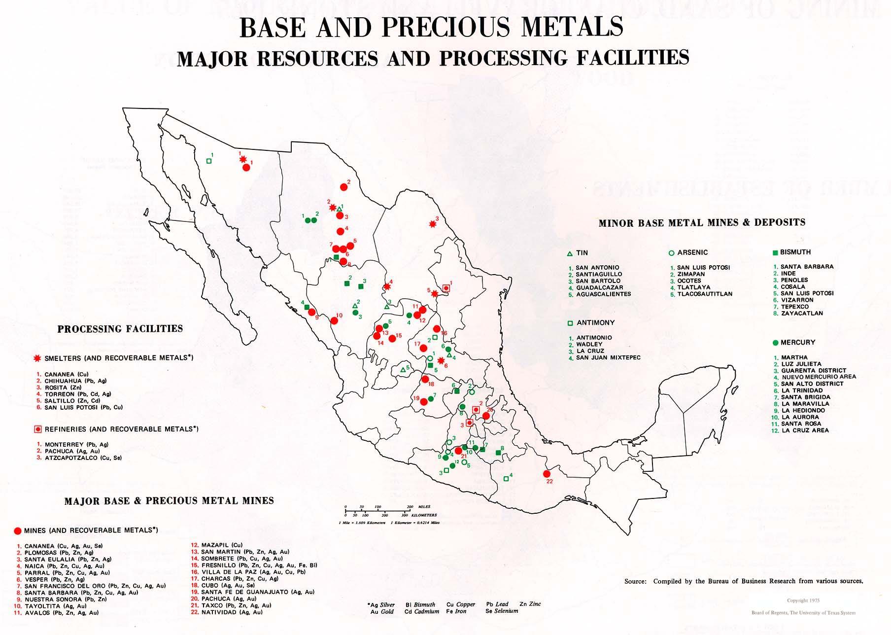 Mapa de Los recursos importantes e las instalaciones de procesamiento de metales básicos y preciosos en México 1975