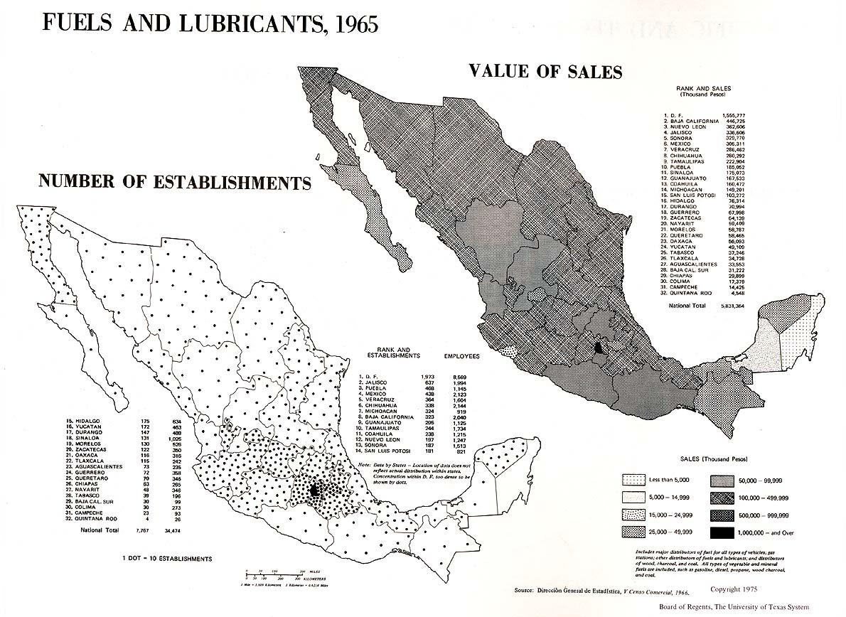 Mapa de Combustibles y Lubricantes en México 1965