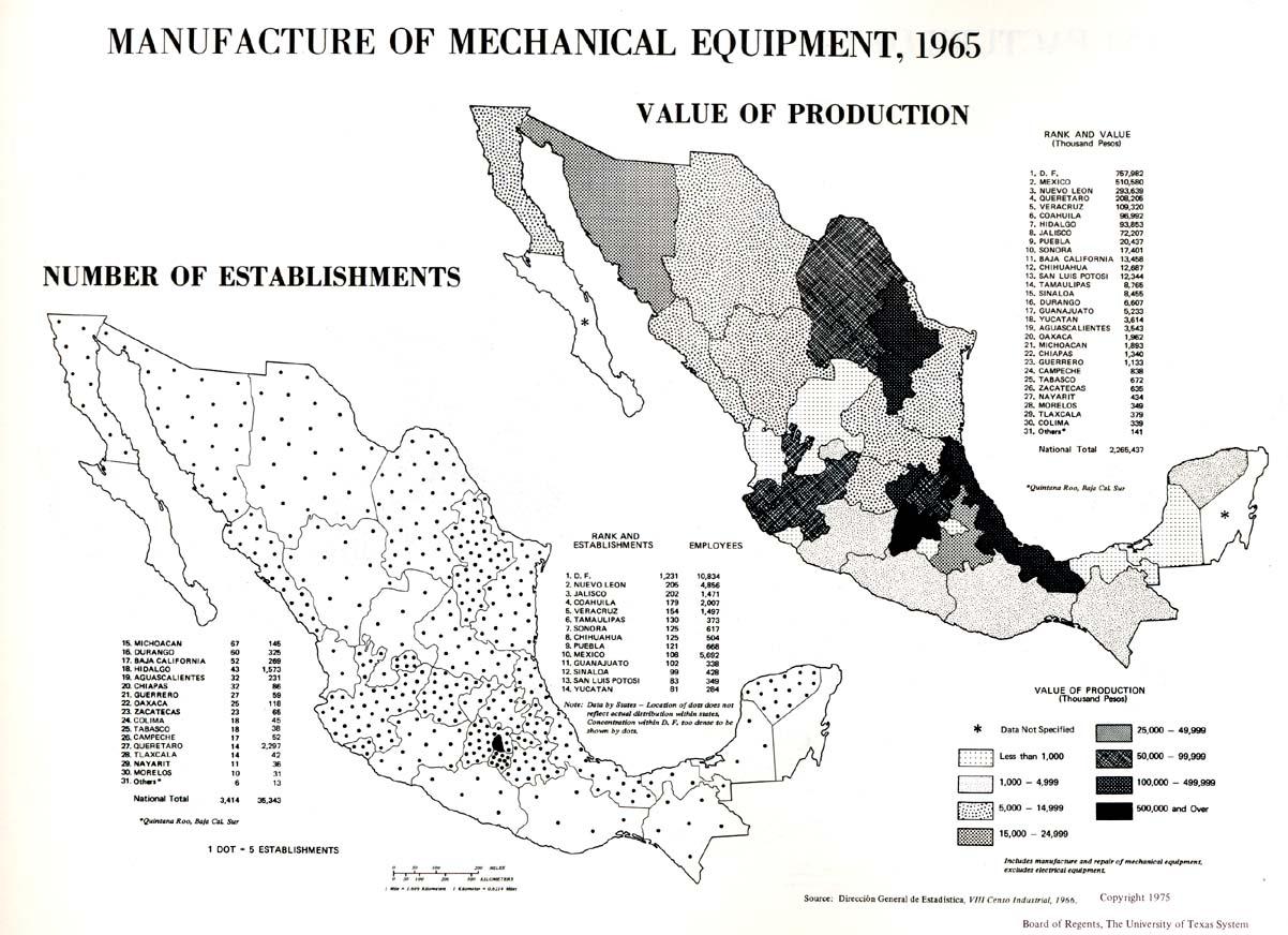 Mapa de Fabricación de maquinaria y equipos mecánicos en México 1965