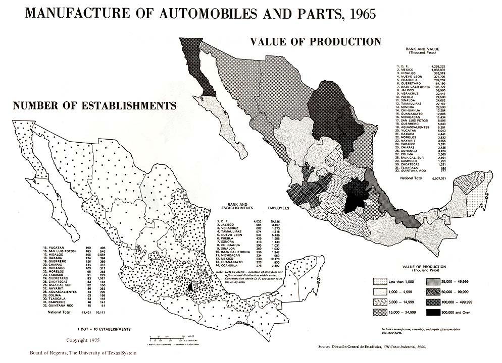 Mapa de Fabricación de Automóviles, Piezas y Accesorios en México 1965