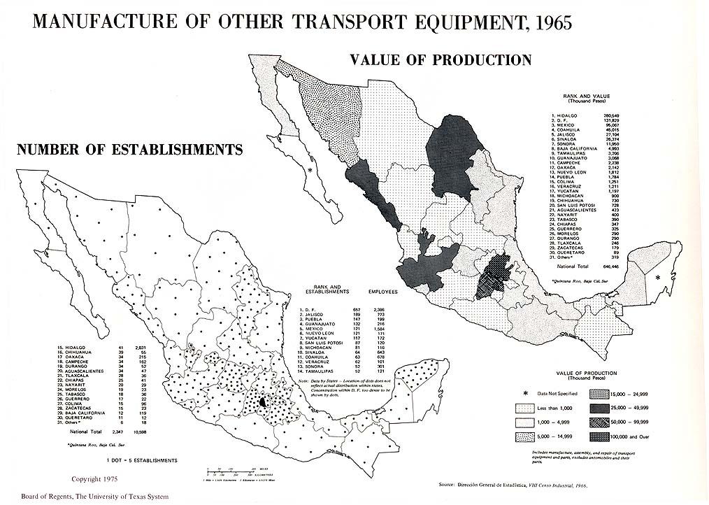 Mapa de Producción de otras maquinas de transporte en México 1965
