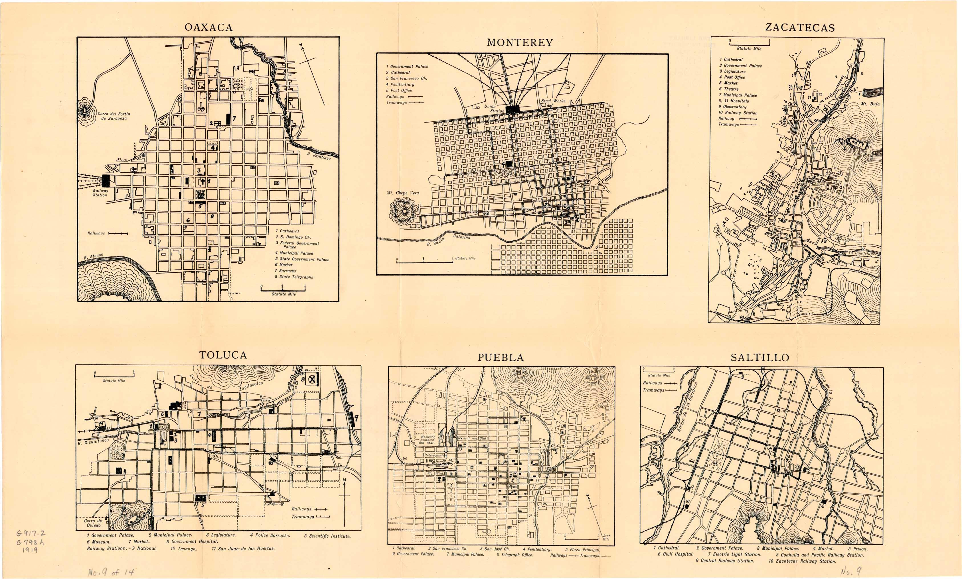 Mapa de Ciudades del Interior: Oaxaca, Monterrey, Puebla, Saltillo, Toluca, Zacatecas 1919