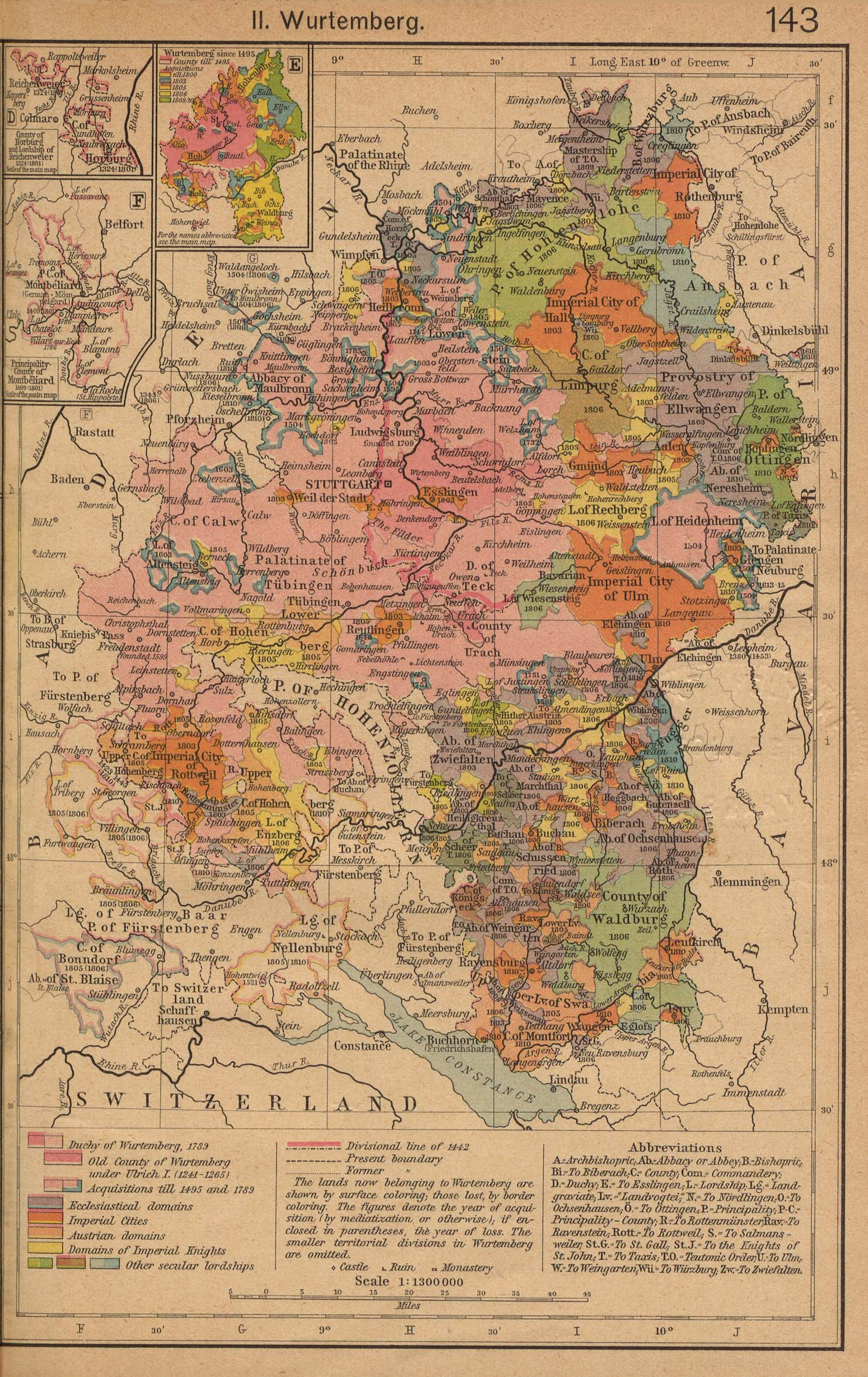 Mapa de Wurtemberg