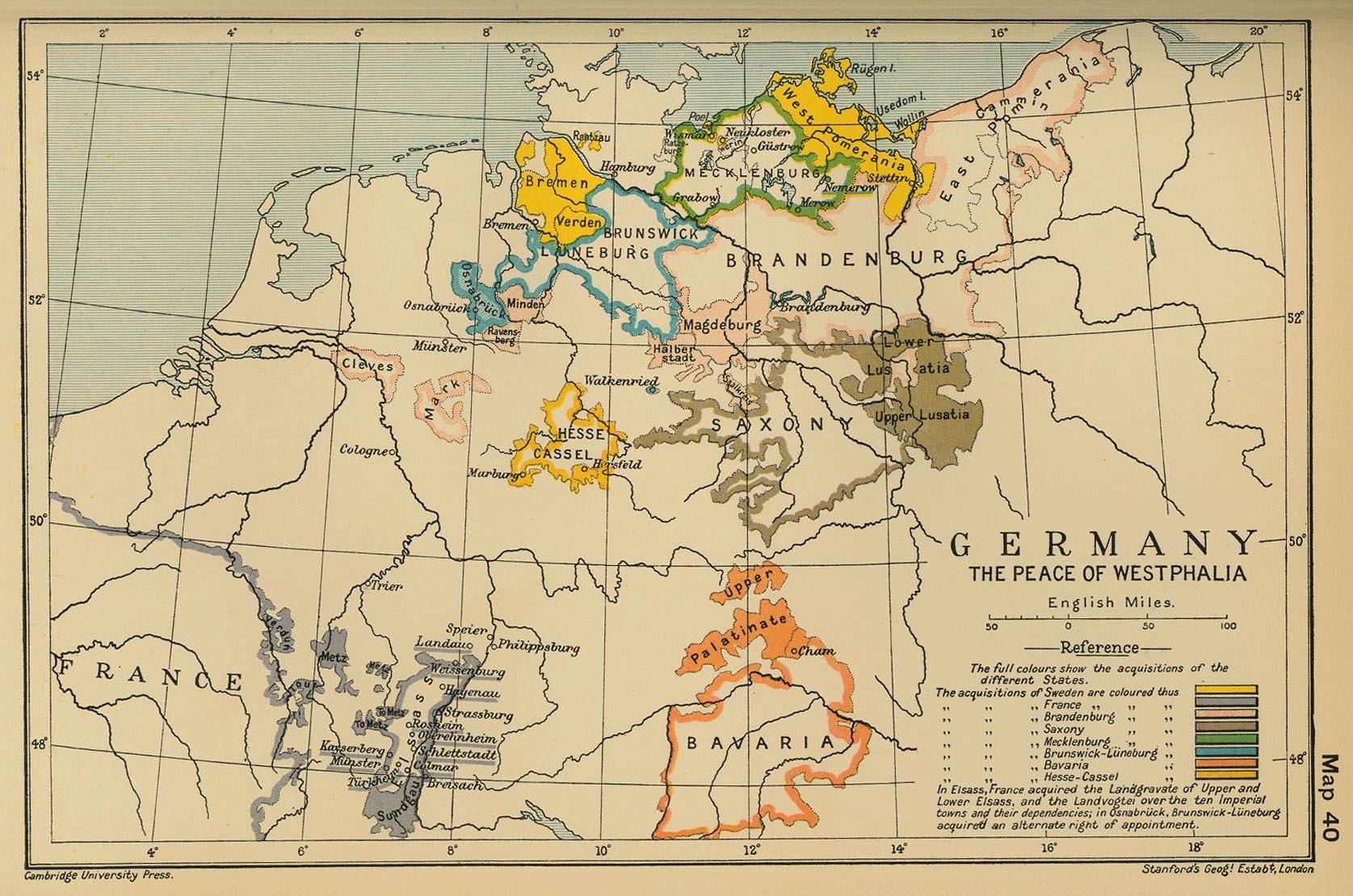 Mapa de Alemania: La Paz de Westfalia 1648