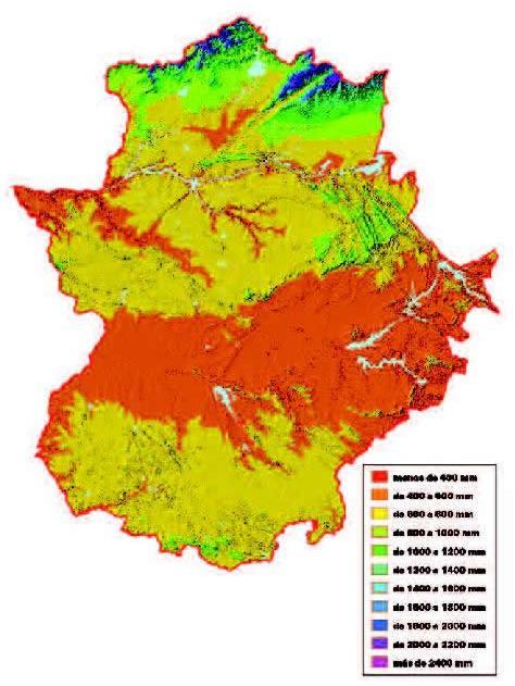 Mapa de Precipitaciones medias anuales en Extremadura