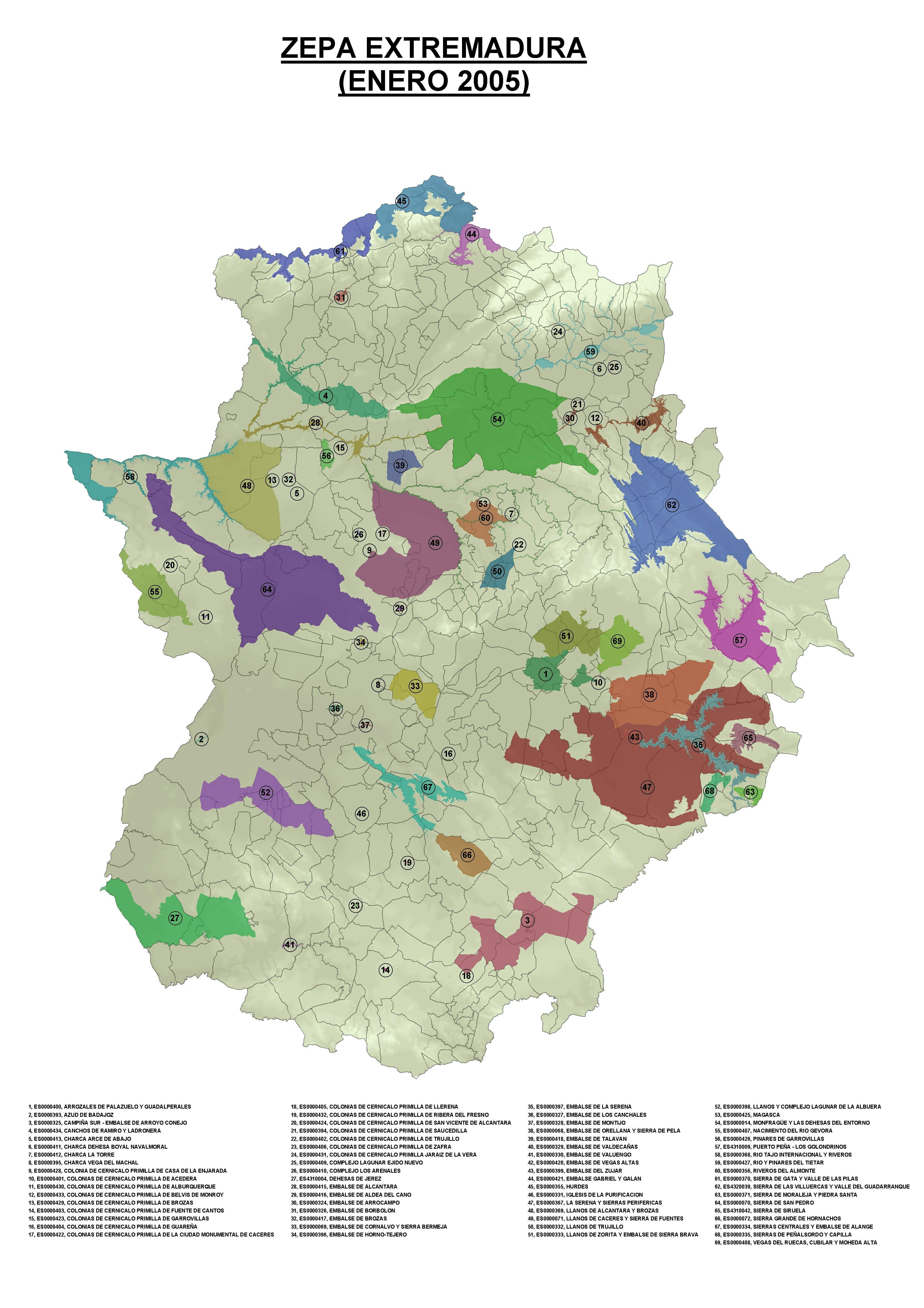 Bird protection areas of Extremadura 2005