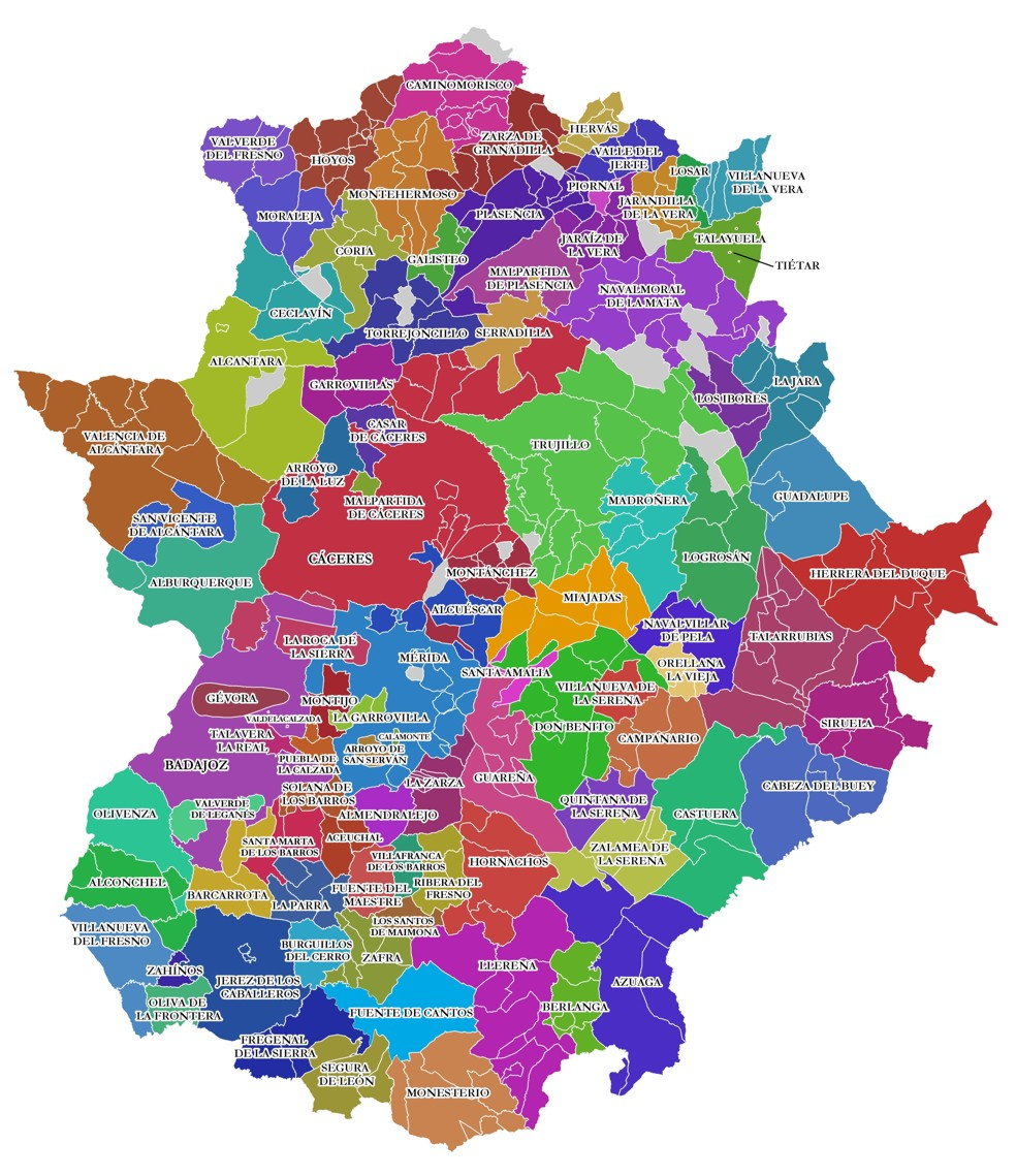 Educational Areas of Extremadura