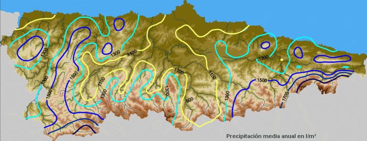 Mapa de Precipitación media anual en Asturias