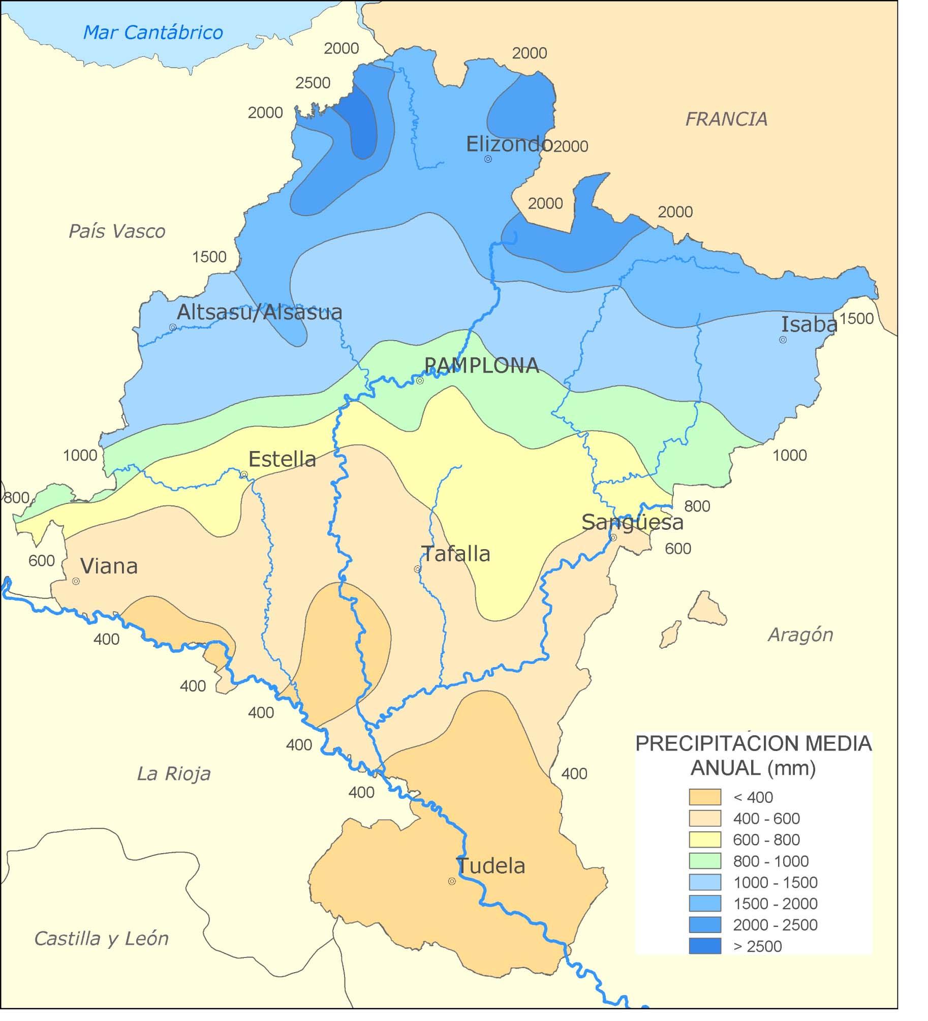 Average yearly precipitation in Navarre
