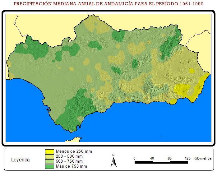 Mapa de Precipitación media anual en Andalucía