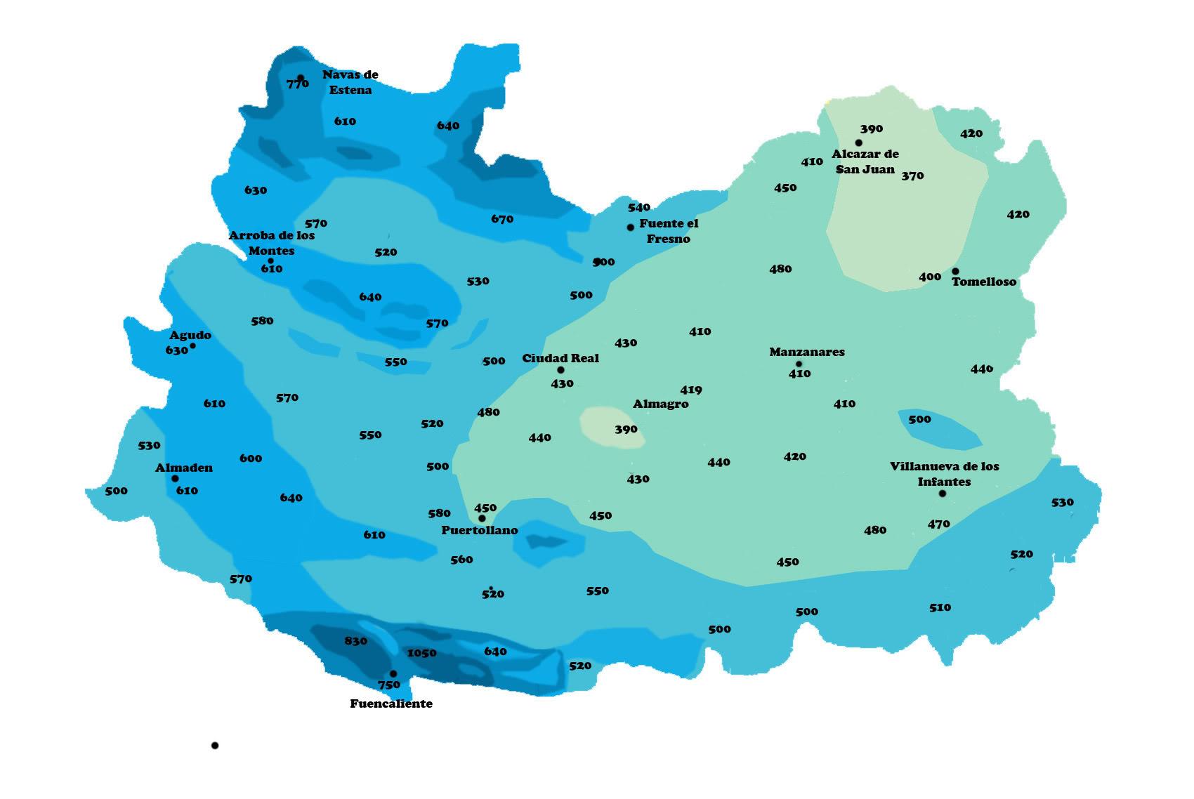 Mapa de Precipitación media anual en la Provincia de Ciudad Real
